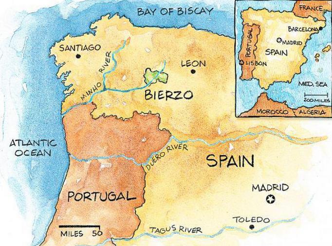 Map graphic showing Bierzo, Spain.