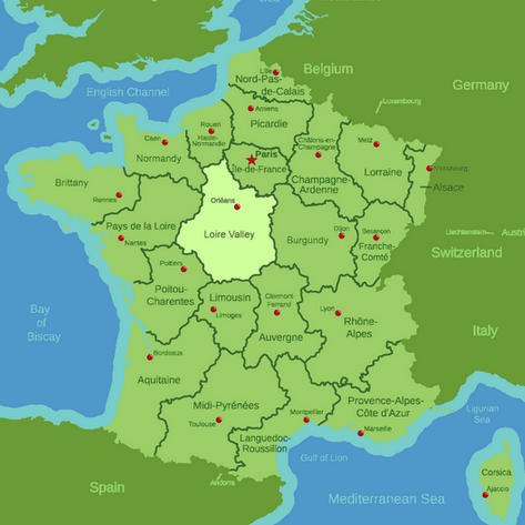 Map highlighting France's Loire Valley