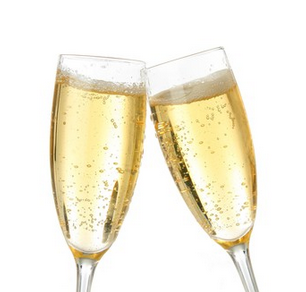 Two glasses of sparkling wine touching for a toast