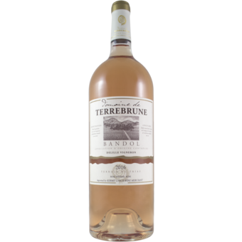 Bottle shot for 2016 Terrebrune Bandol Rose Magnum