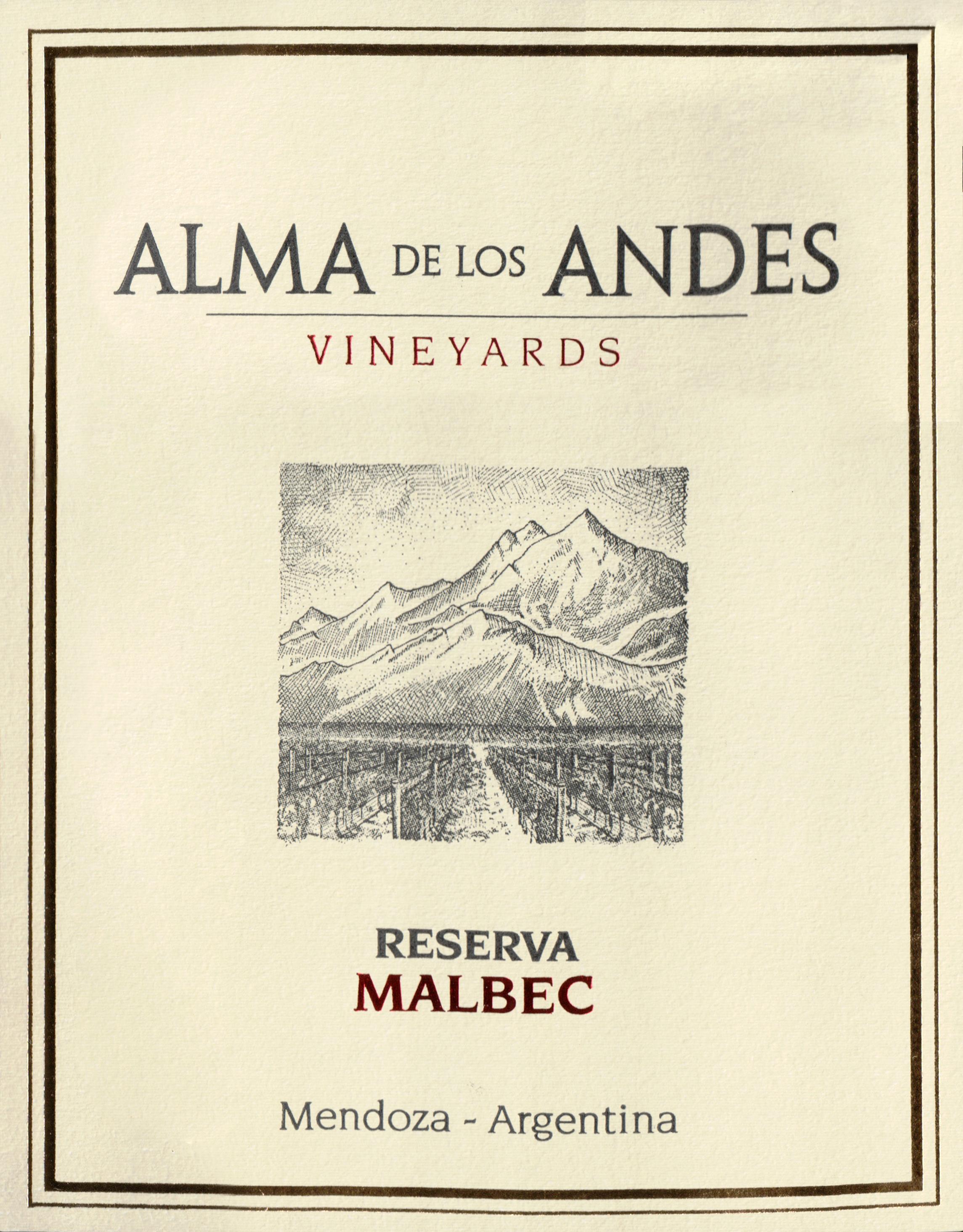 Alma De Los Andes Malbec Reserva 2013