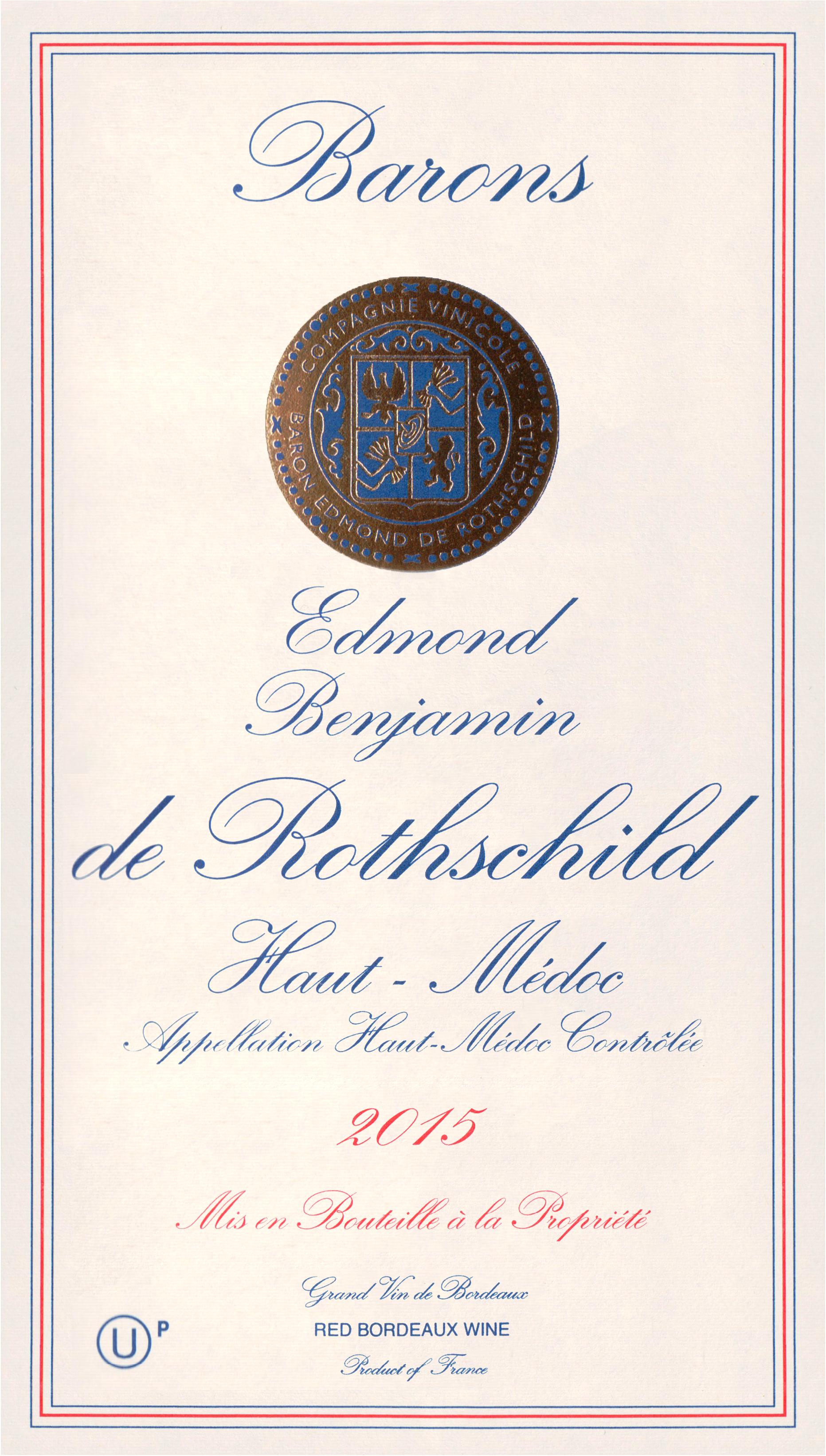 Barons Edmond Et Benjamin De Rothschild Haut Medoc (U)P 2015