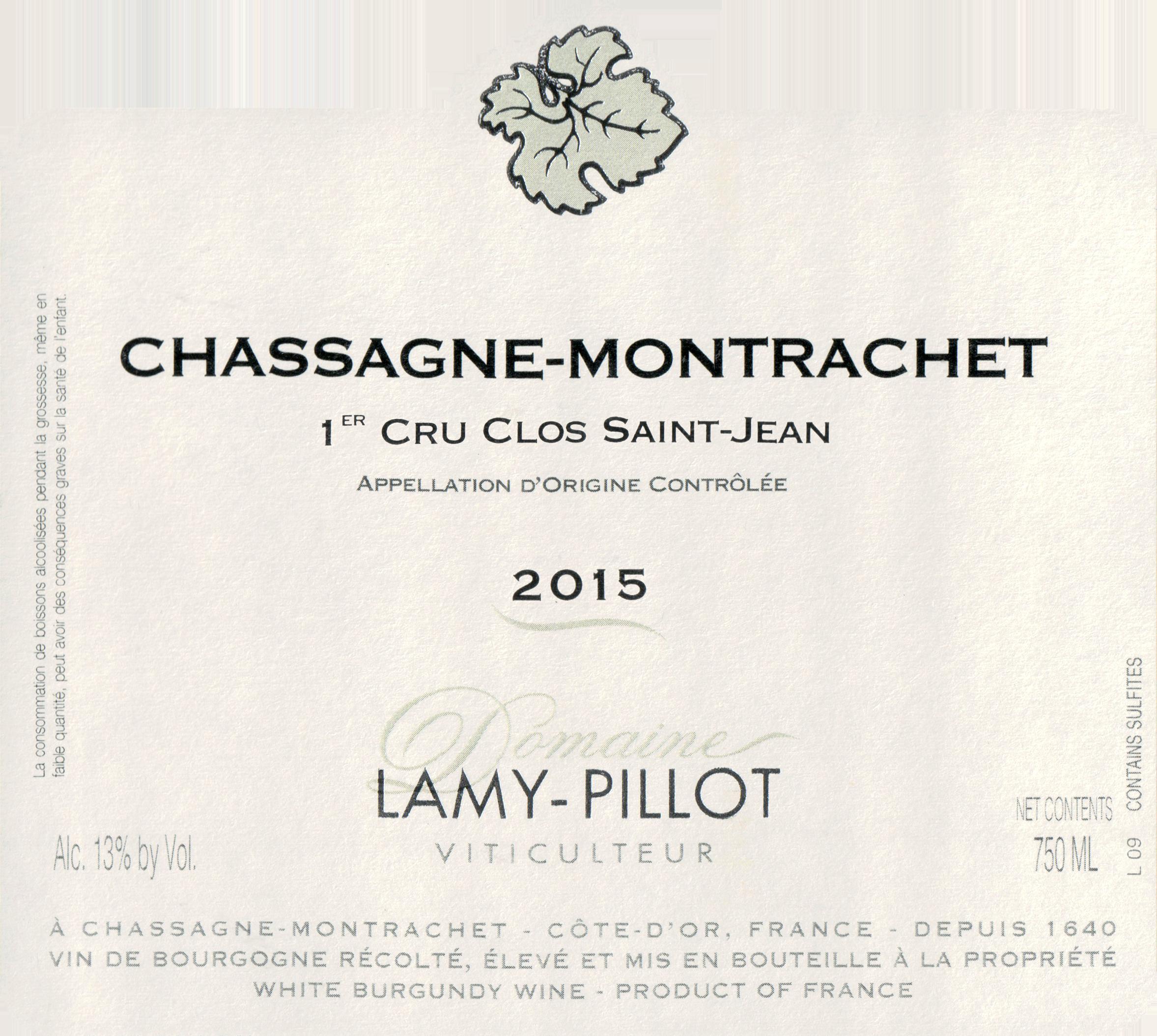 Lamy Pillot Chassagne Montrachet Rouge Clos St Jean 2015