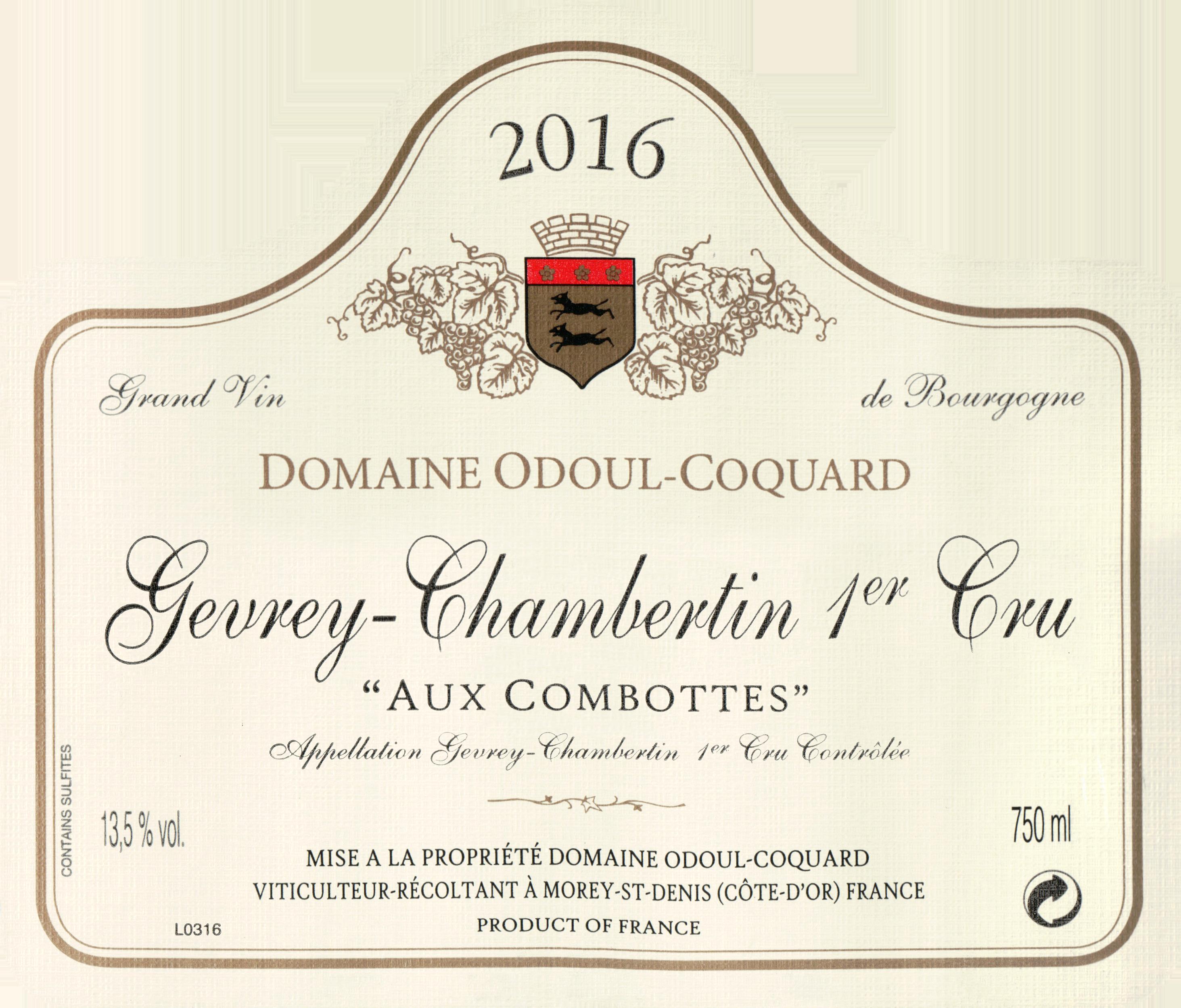 Domaine Odoul Coquard Gevrey Chambertin Aux Combottes 1er Cru 2016