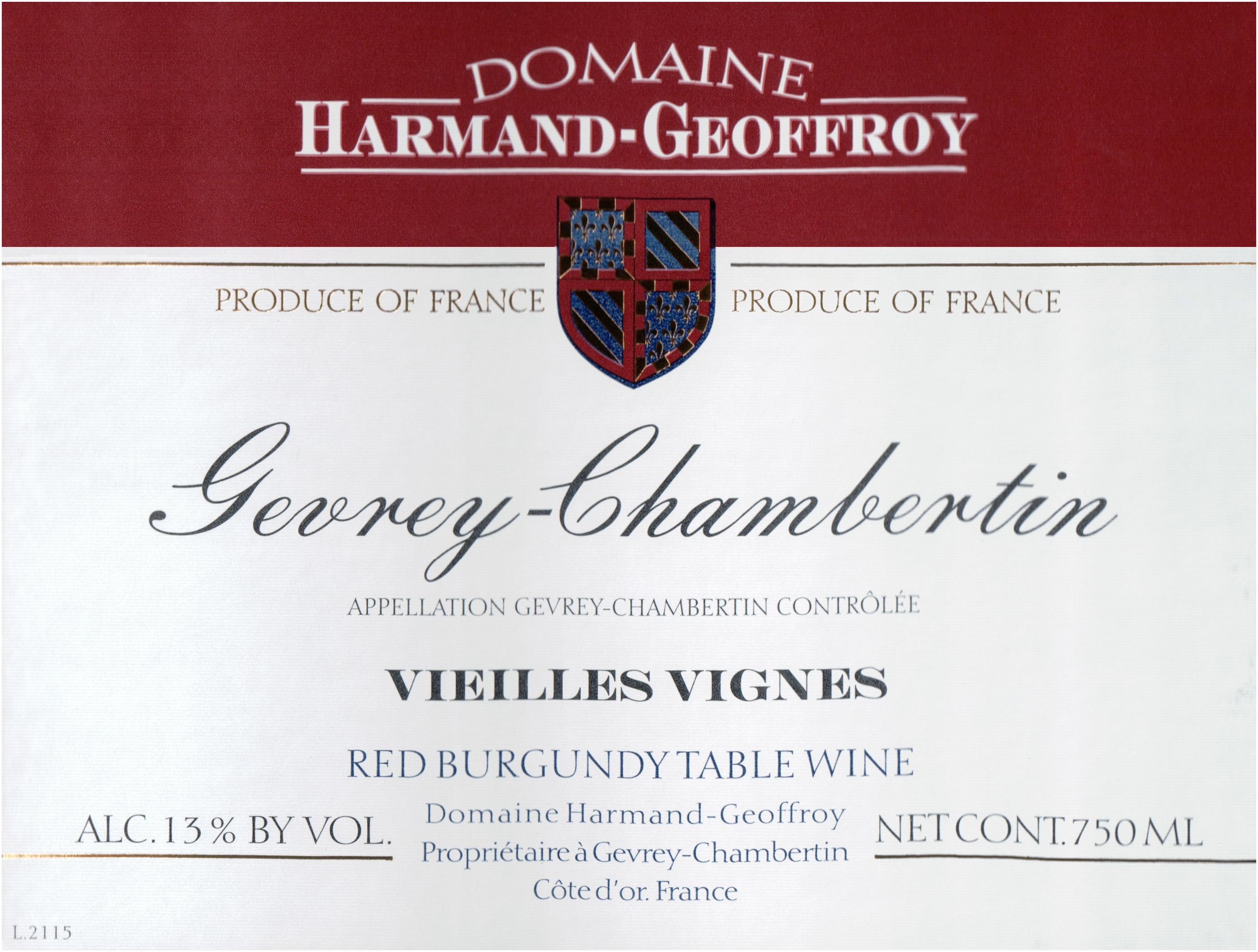 Harmand Geoffroy Gevrey Chambertin Vieilles Vignes 2015