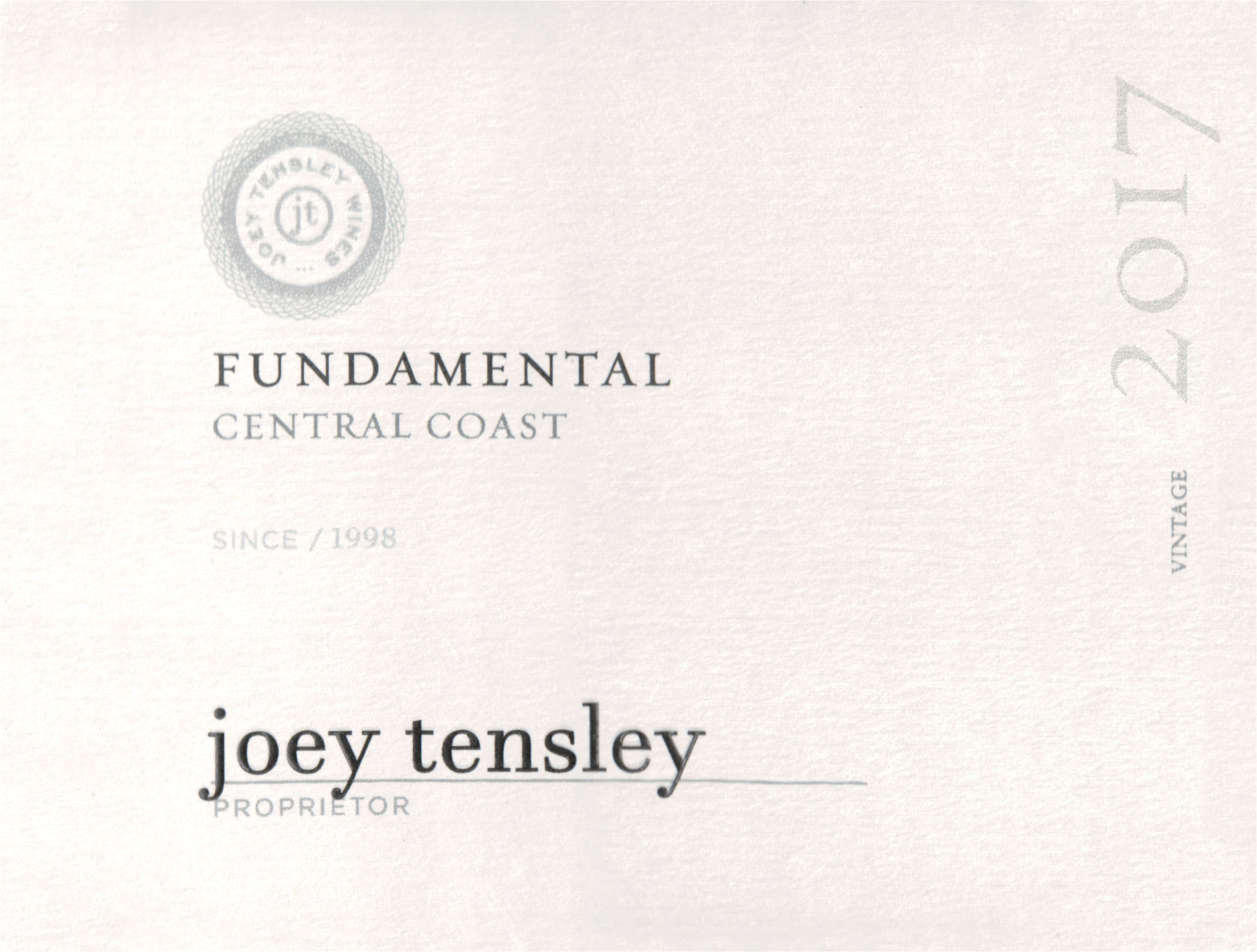 Joey Tensley Fundamental Red Blend Central Coast 2017