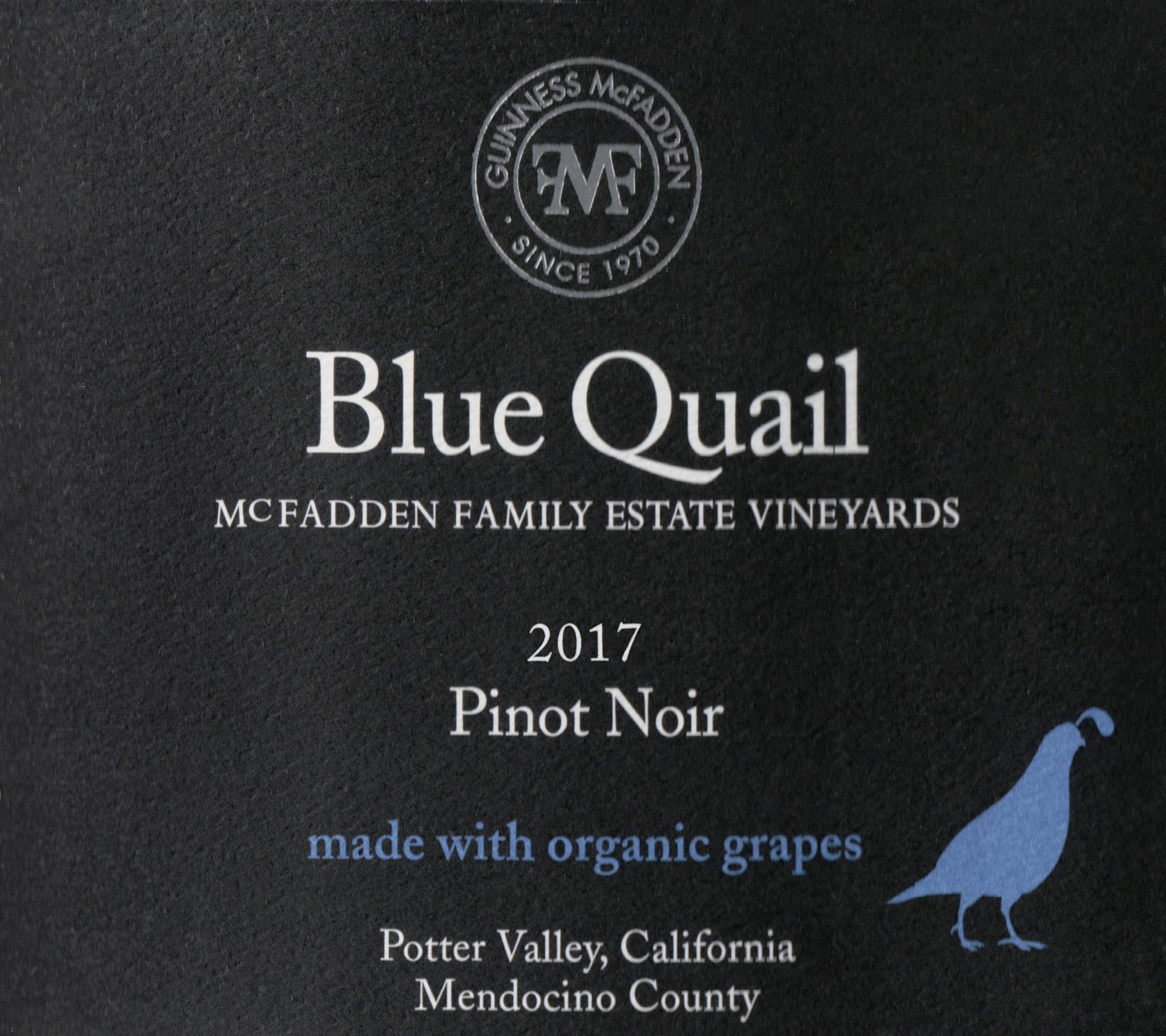Blue Quail Organic Pinot Noir Potter Valley 2017