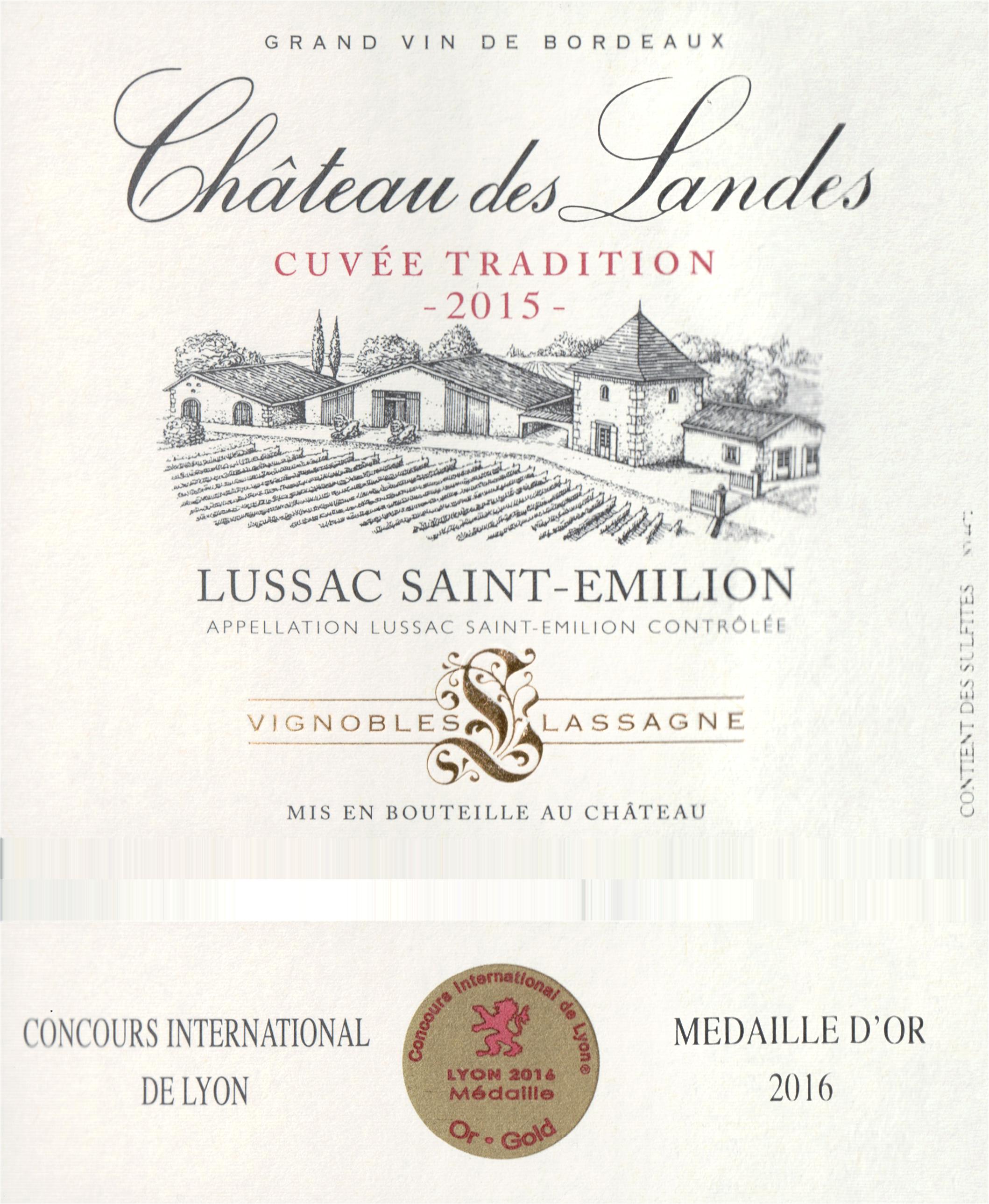 Chateau Des Landes Lussac Cuvee Tradition 2015