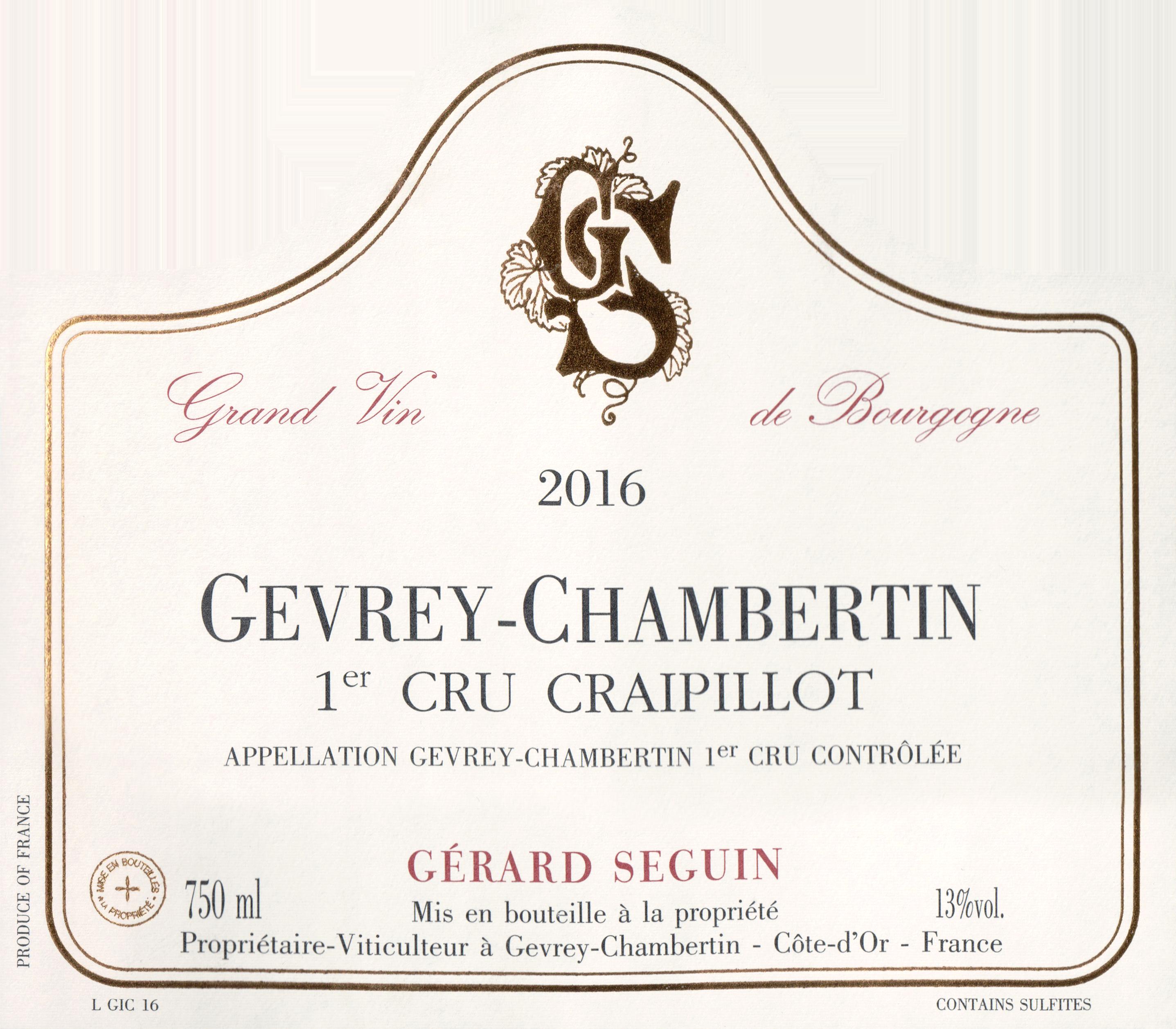 Gerard Seguin Gevrey Chambertin Craipillot 1er Cru 2016