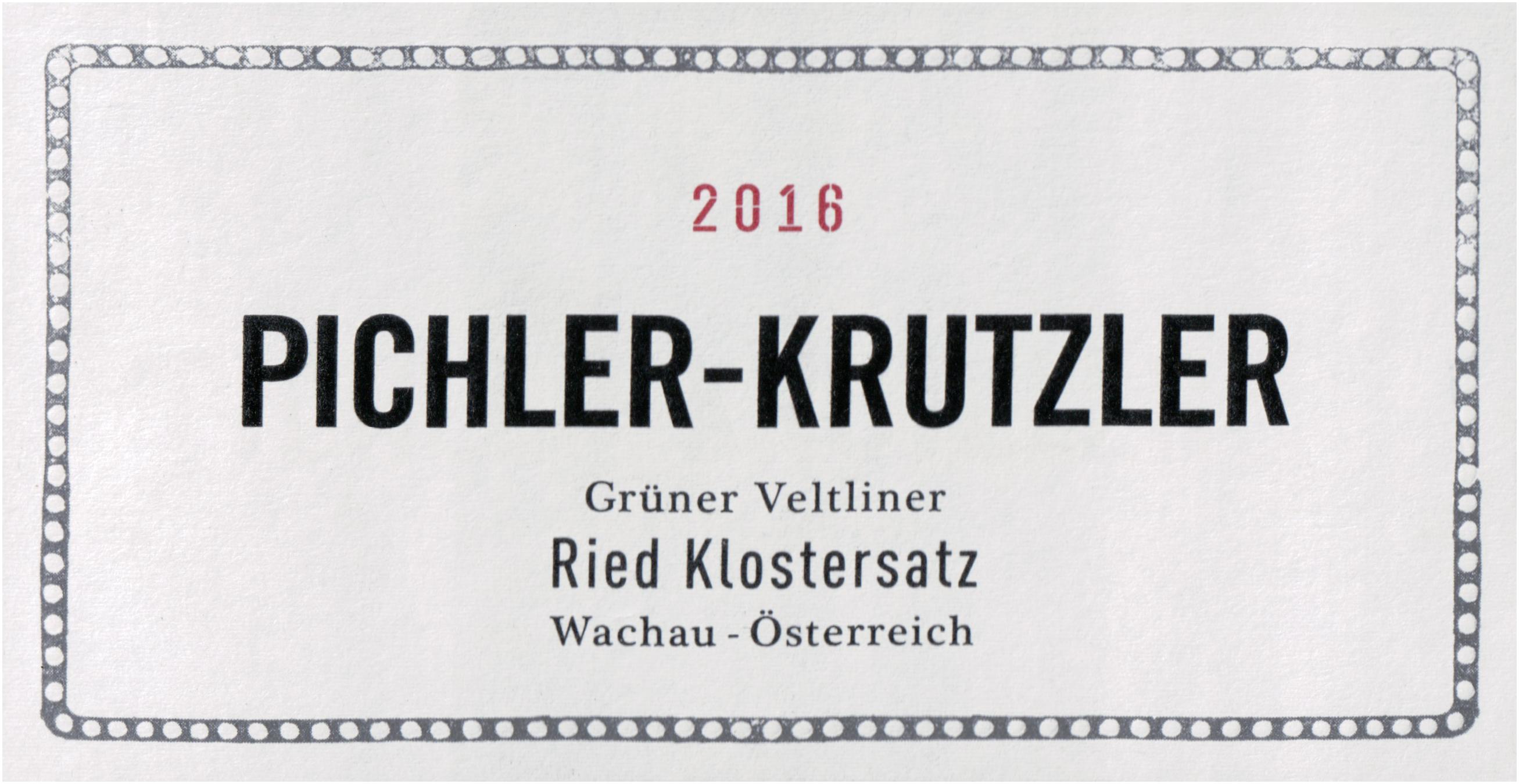 Pichler Krutzler Klostersatz Gruner Veltliner 2016