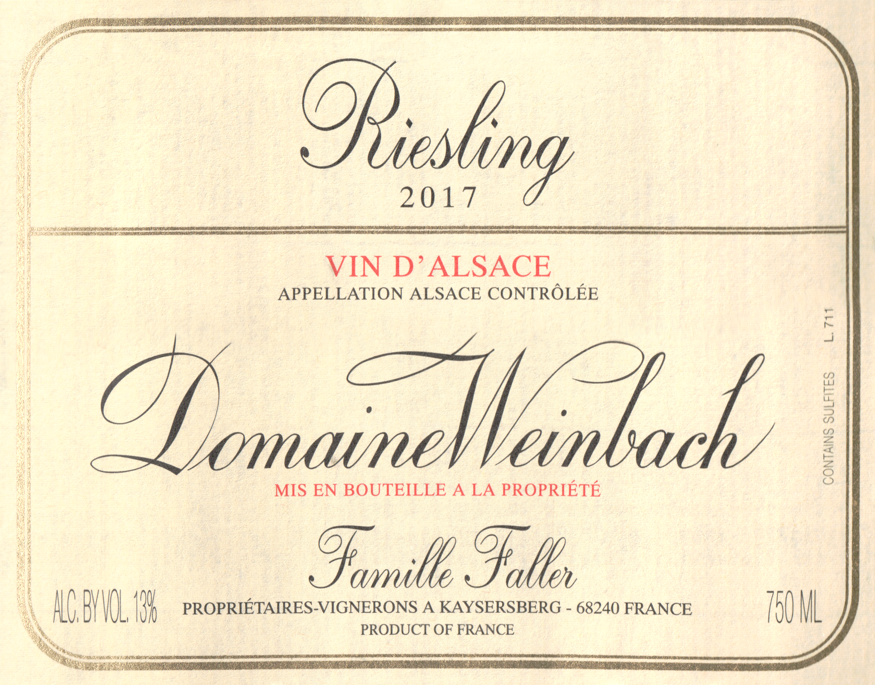 Weinbach Riesling Reserve Personnelle 2017