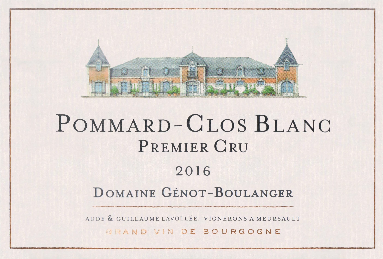 Domaine Genot Boulanger Pommard Clos Blanc 1er Cru 2016