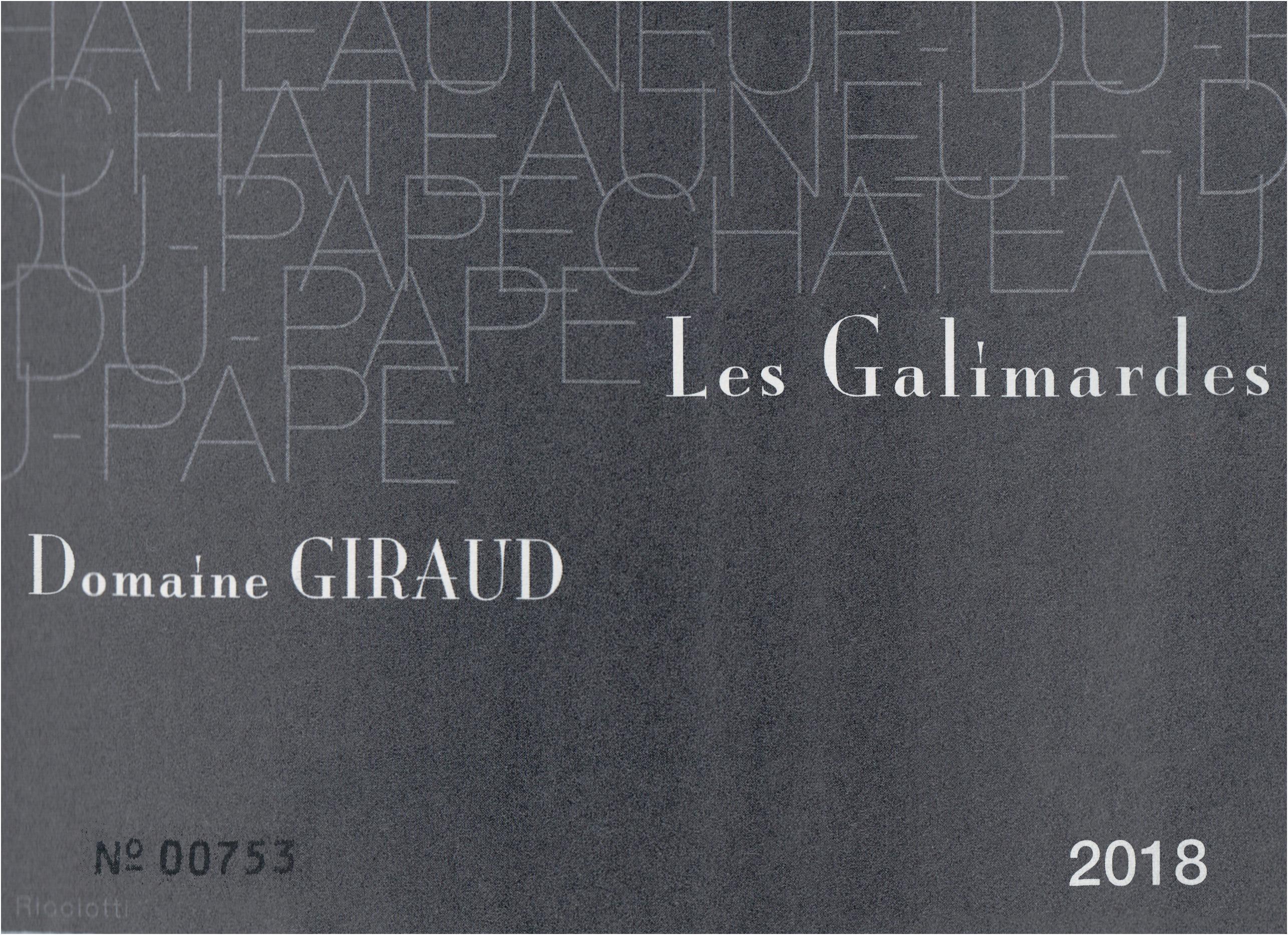 Giraud Chateauneuf Du Pape Blanc Les Gallimardes 2018
