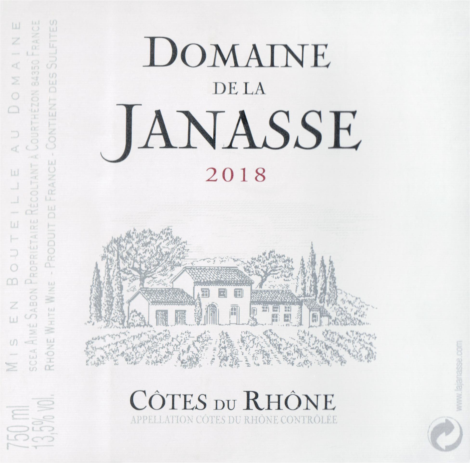 Janasse Cotes Du Rhone Blanc 2018
