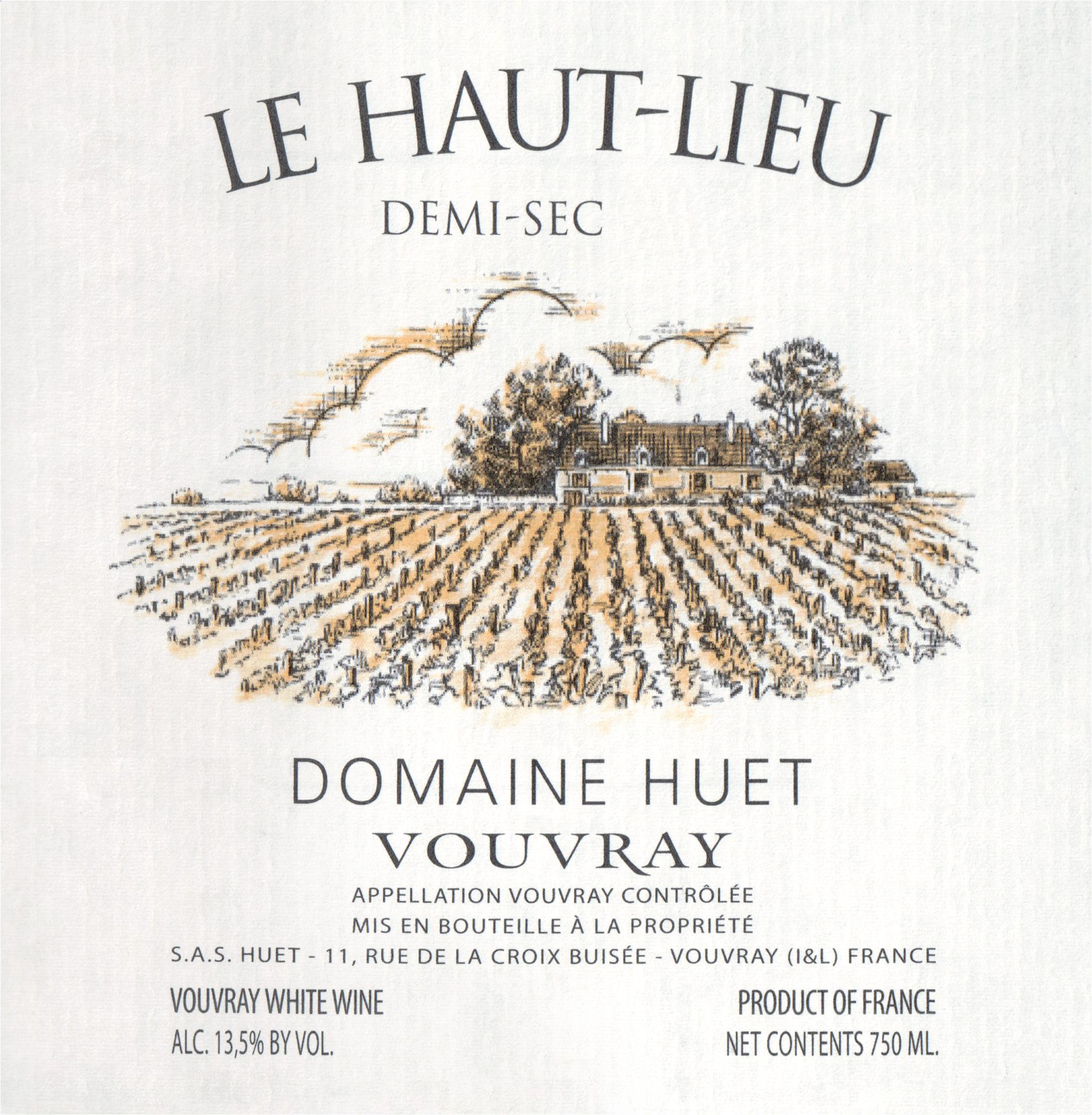 Huet Vouvray Demi Sec Haut Lieu 2018