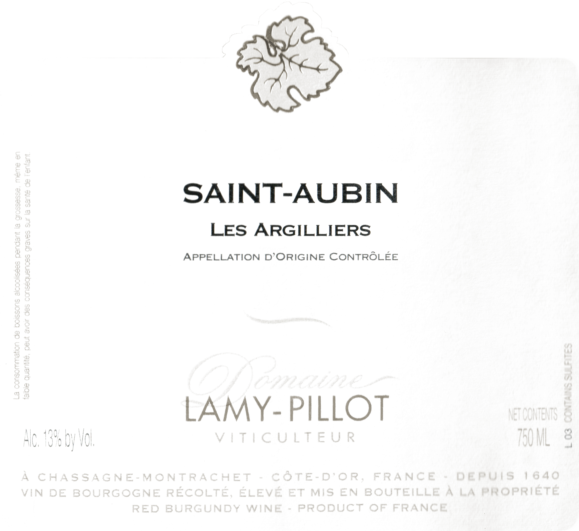 Lamy Pillot Saint Aubin Argilliers 2016