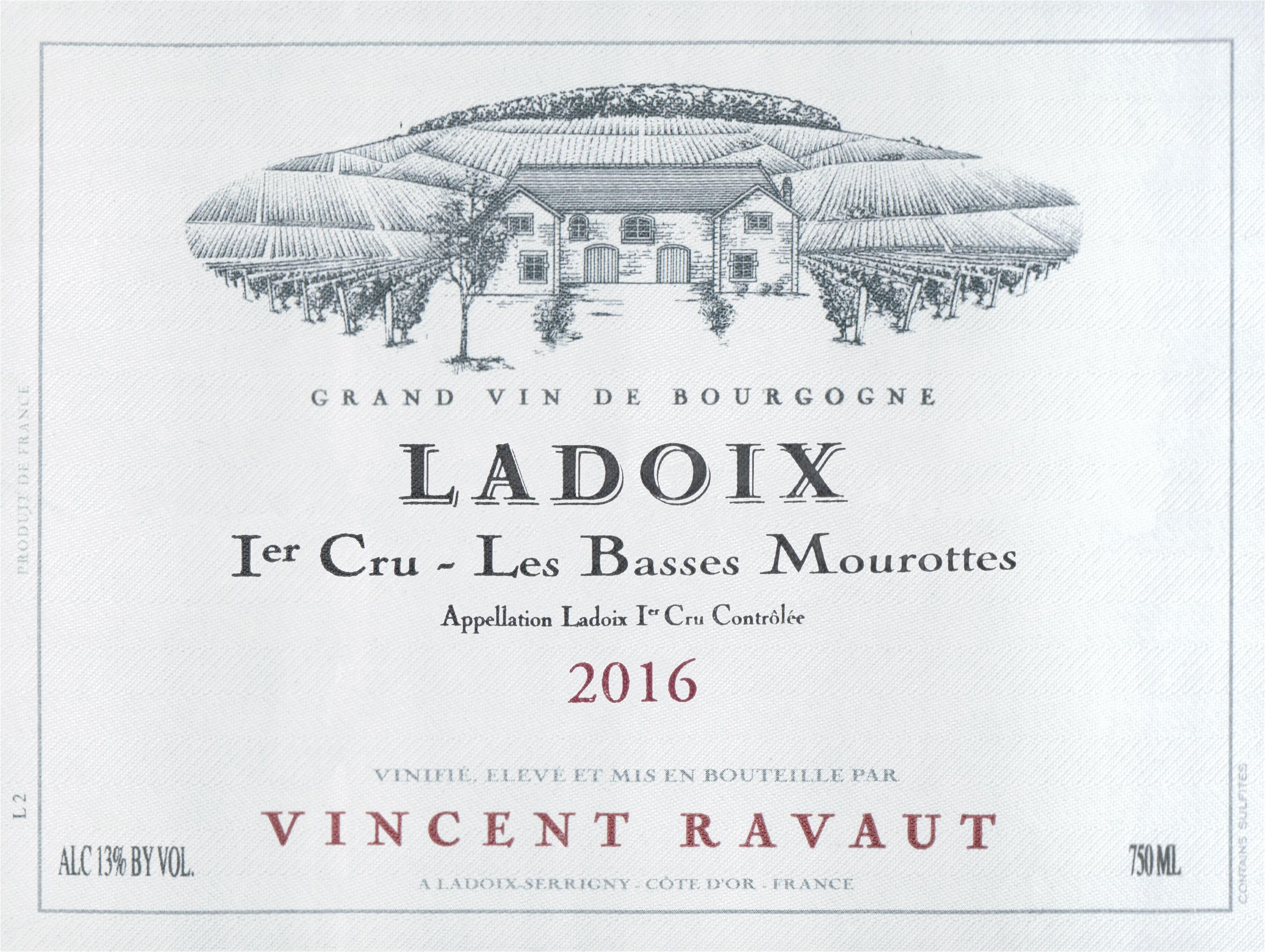 Domaine Vincent Ravaut Ladoix Lbasses Mourottes Rouge 1er Cru 2016
