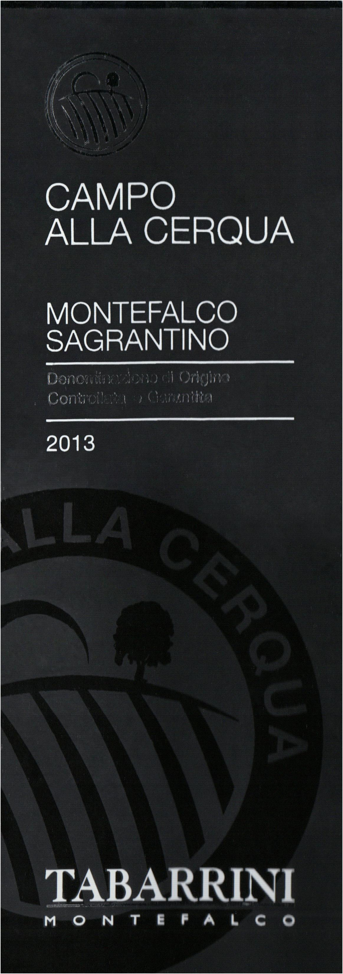 Tabarrini Montefalco Sagrantino Campo Alla Cerqua 2013