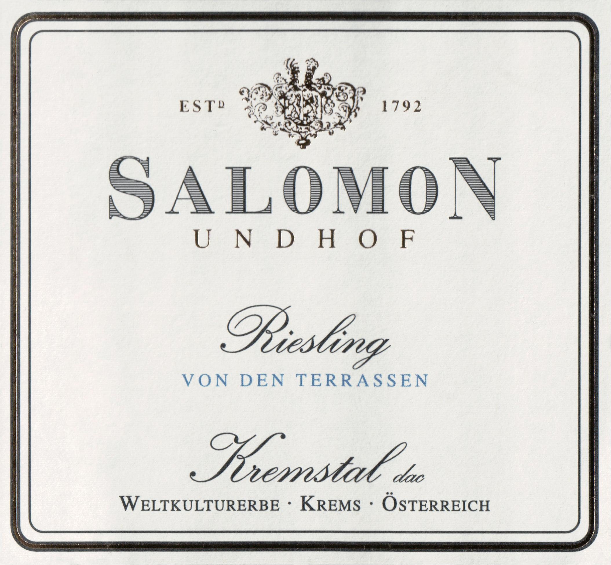 Salomon Undhof Von Den Terrassen Kremstal Riesling 2018