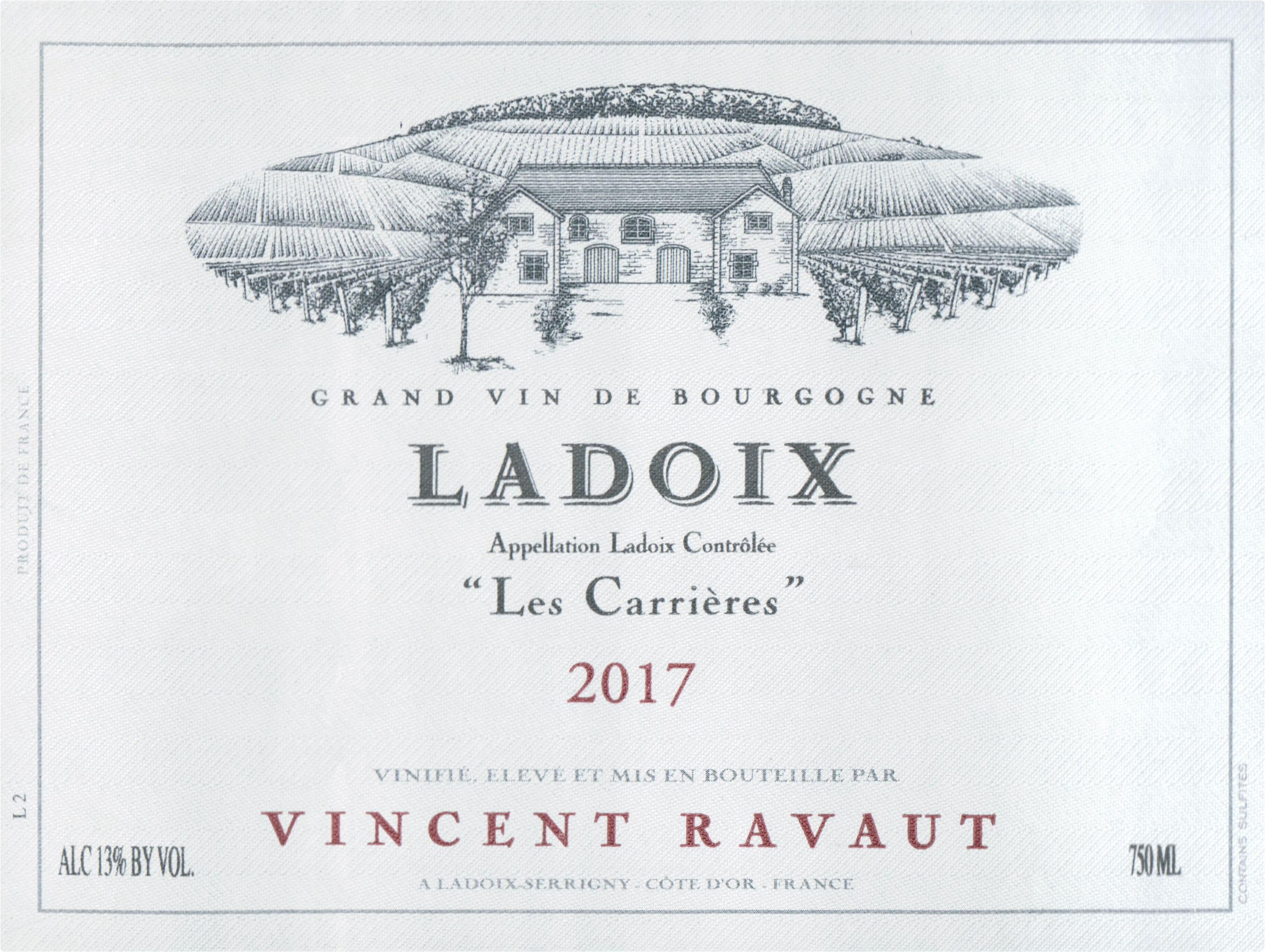 Domaine Vincent Ravaut Ladoix Carrieres 2017