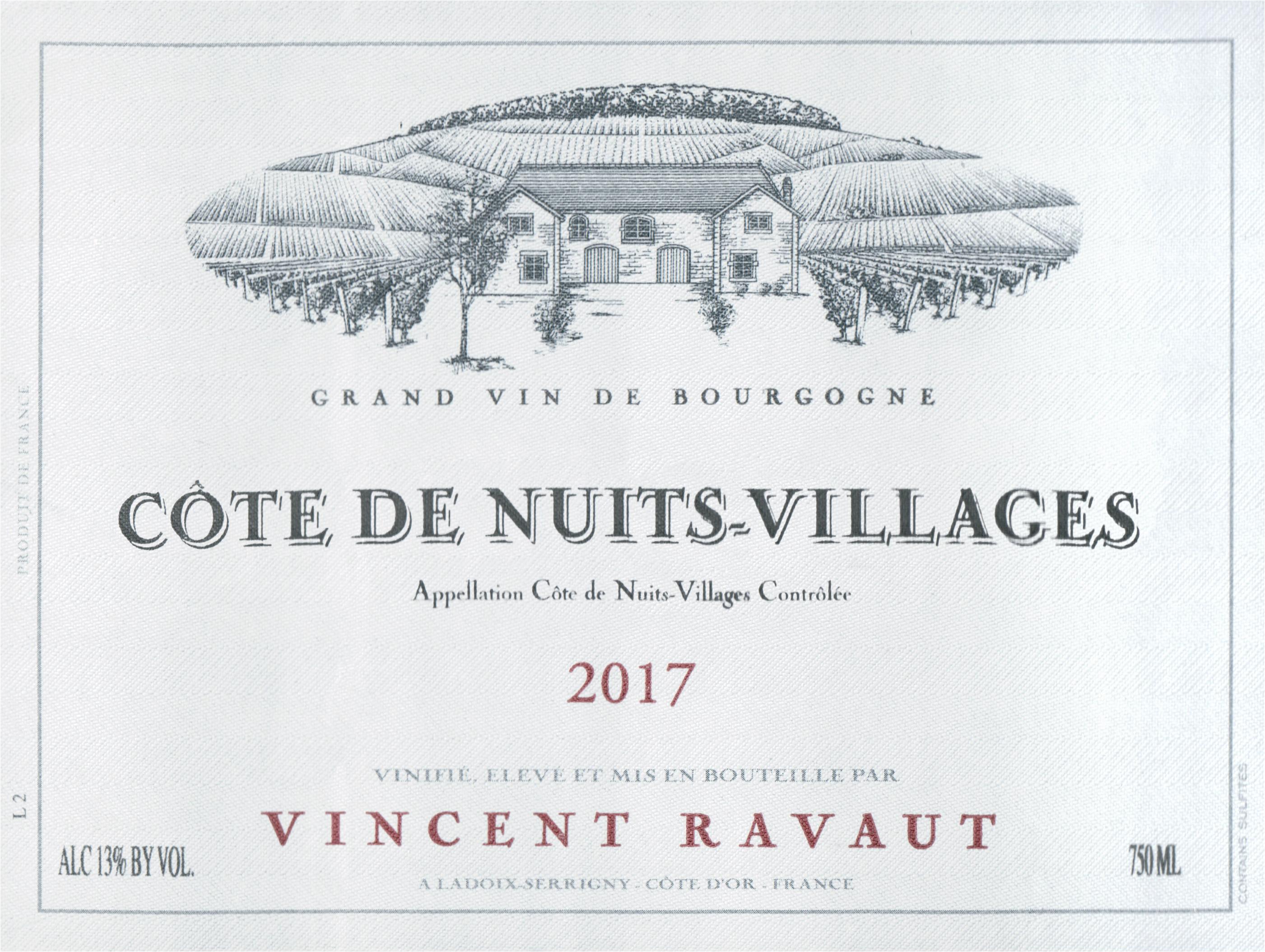 Domaine Vincent Ravaut Cotes De Nuits Village 2017
