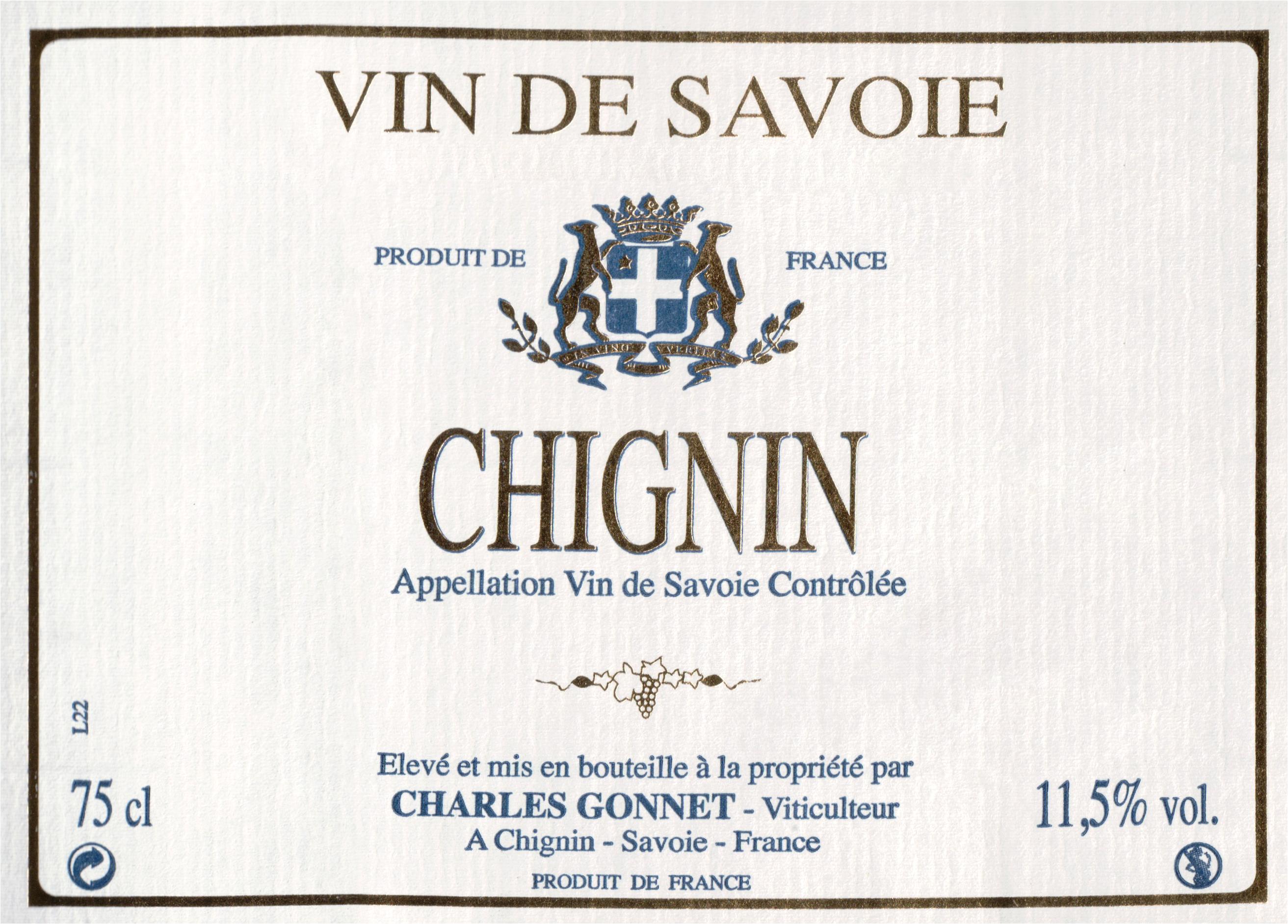 Gonnet Chignin Vin De Savoie 2018