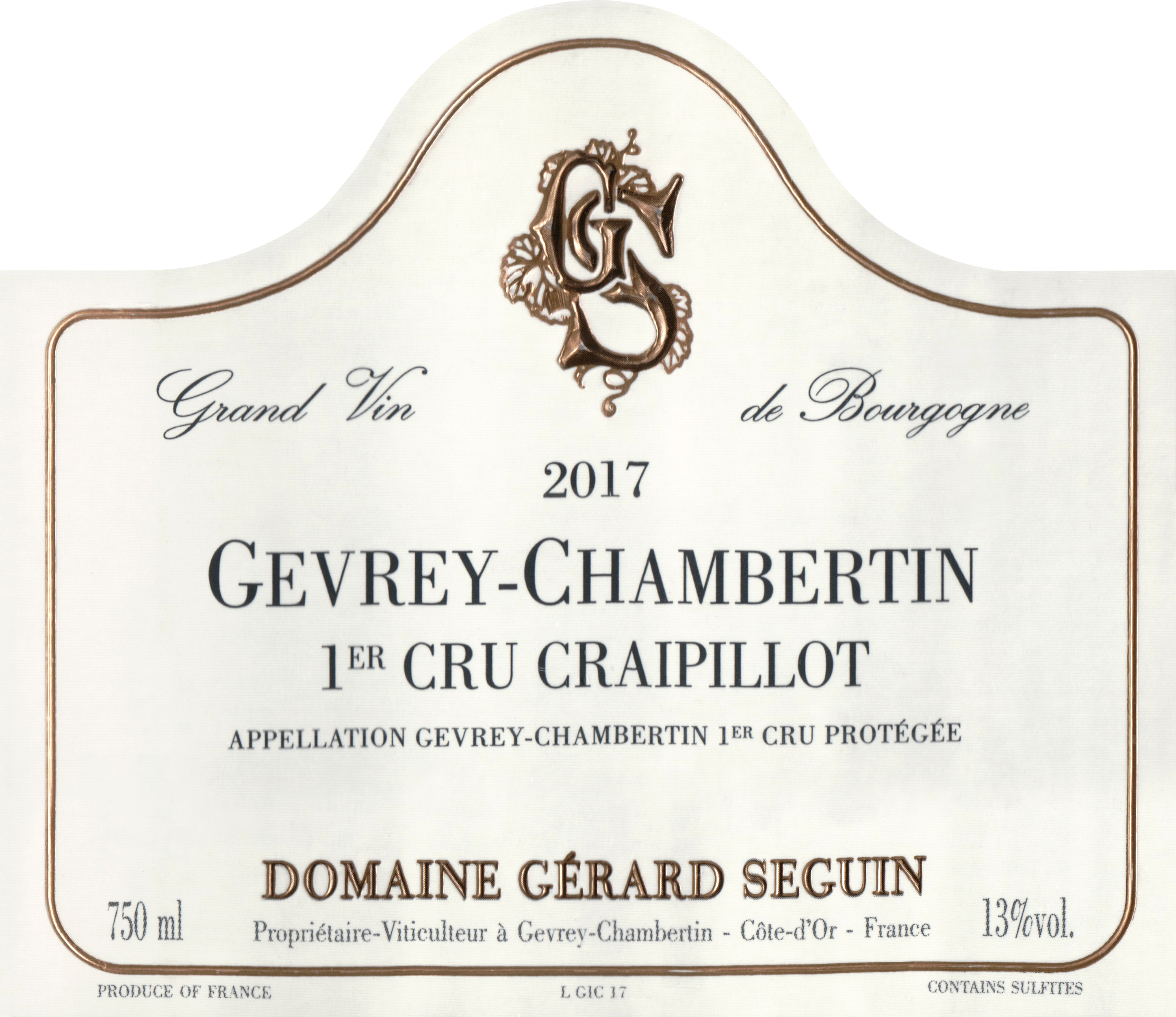 Gerard Seguin Gevrey Chambertin Craipillot 1er Cru 2017
