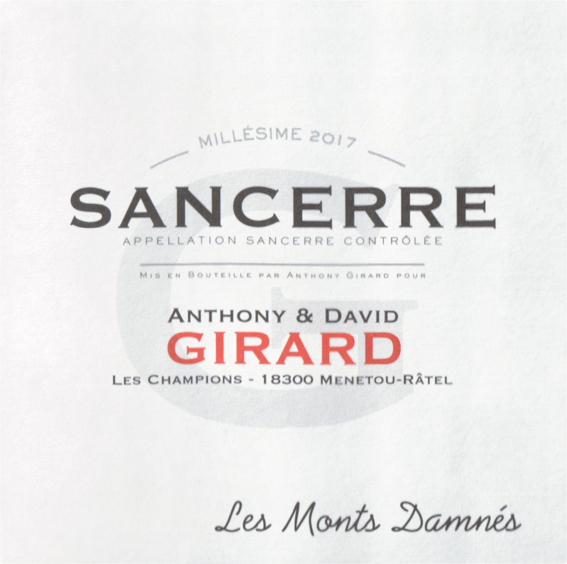Domaine Anthony & David Girard Sancerre Les Monts Damnes 2018