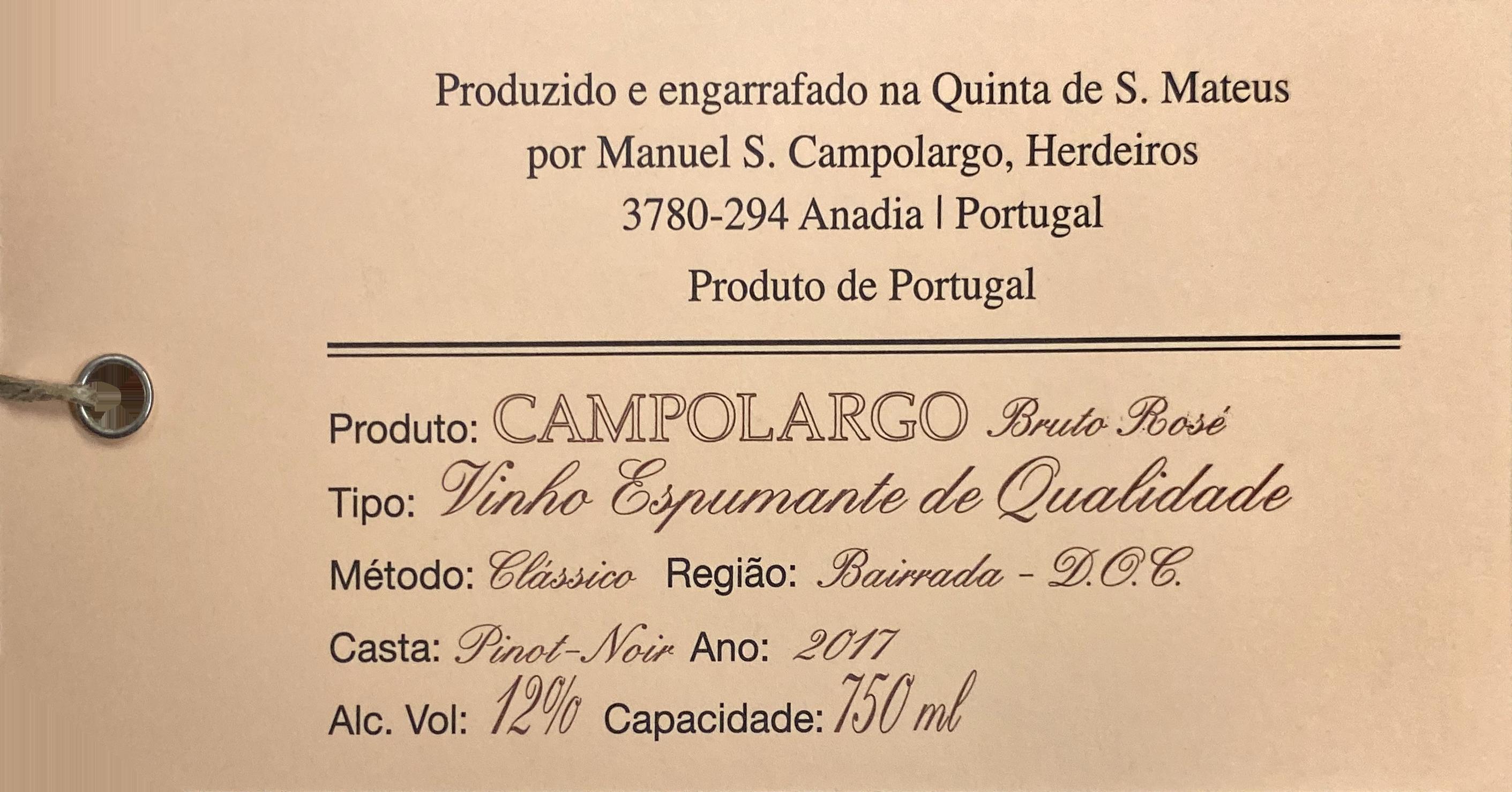 Campolargo Pinot Noir Sparkling Rose 2017