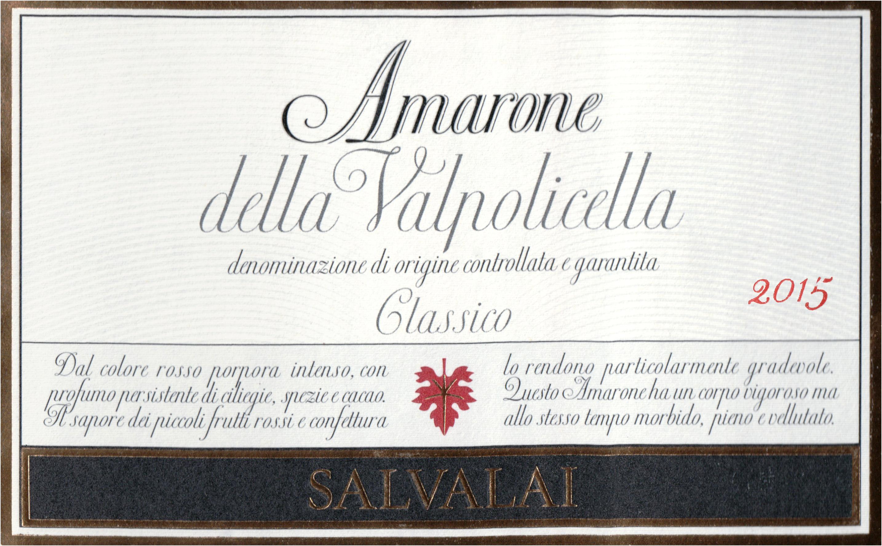Salvalai Amarone Della Valpolicella Classico 2015