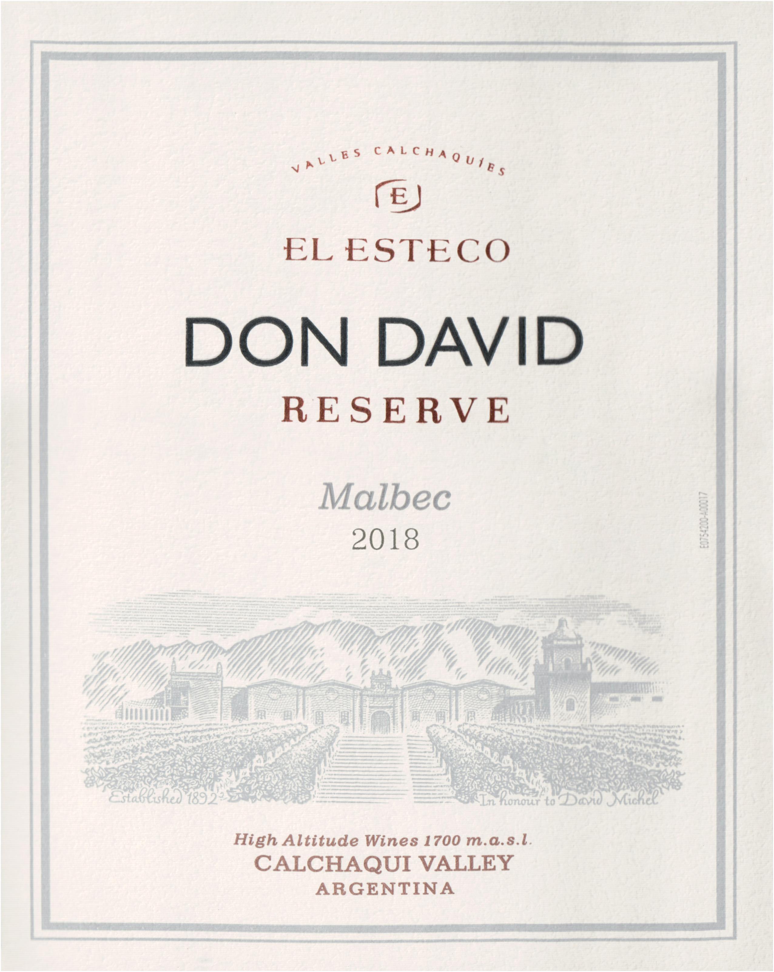 El Esteco Malbec Don David Reserve 2018