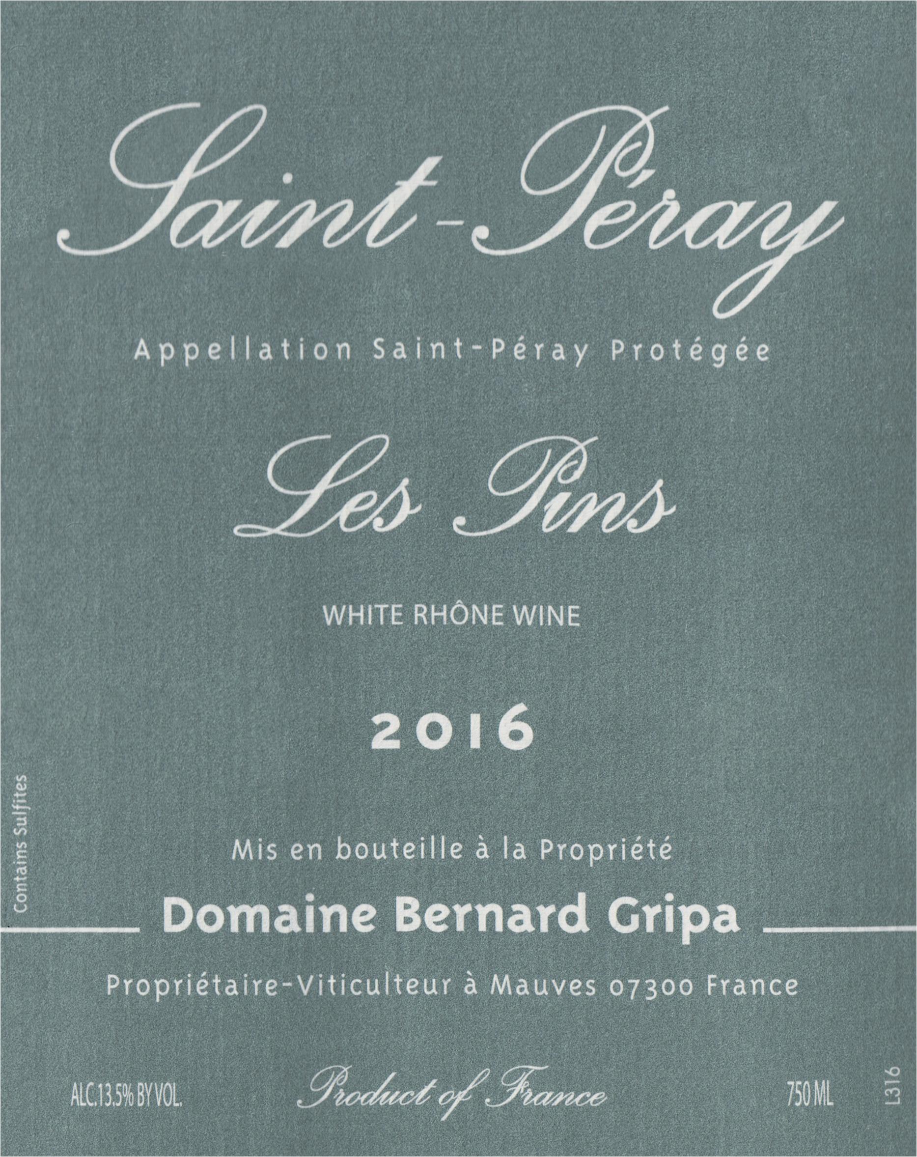 Bernard Gripa Les Pins Saint Peray 2016