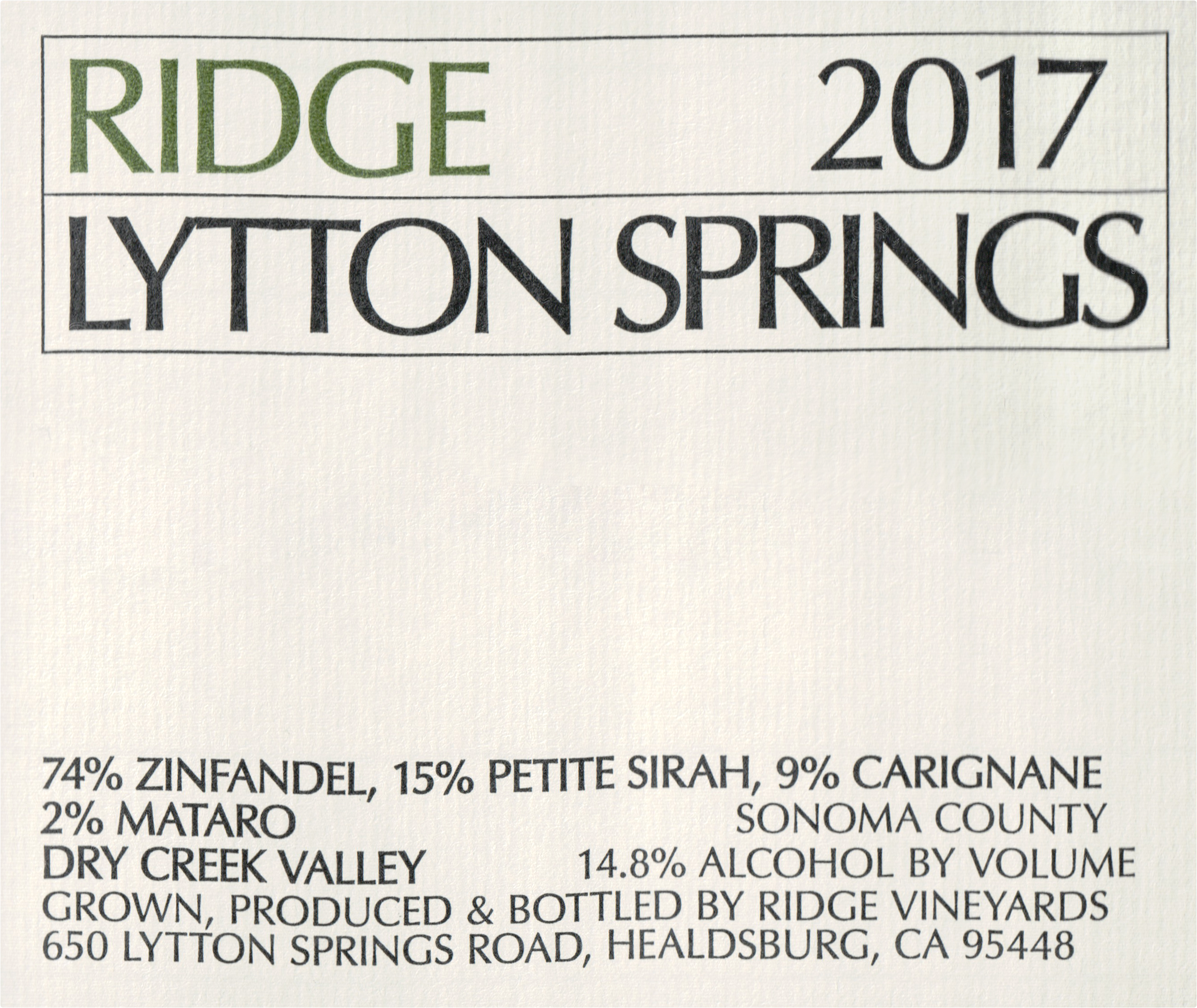 Ridge Lytton Springs Proprietary Red 2017