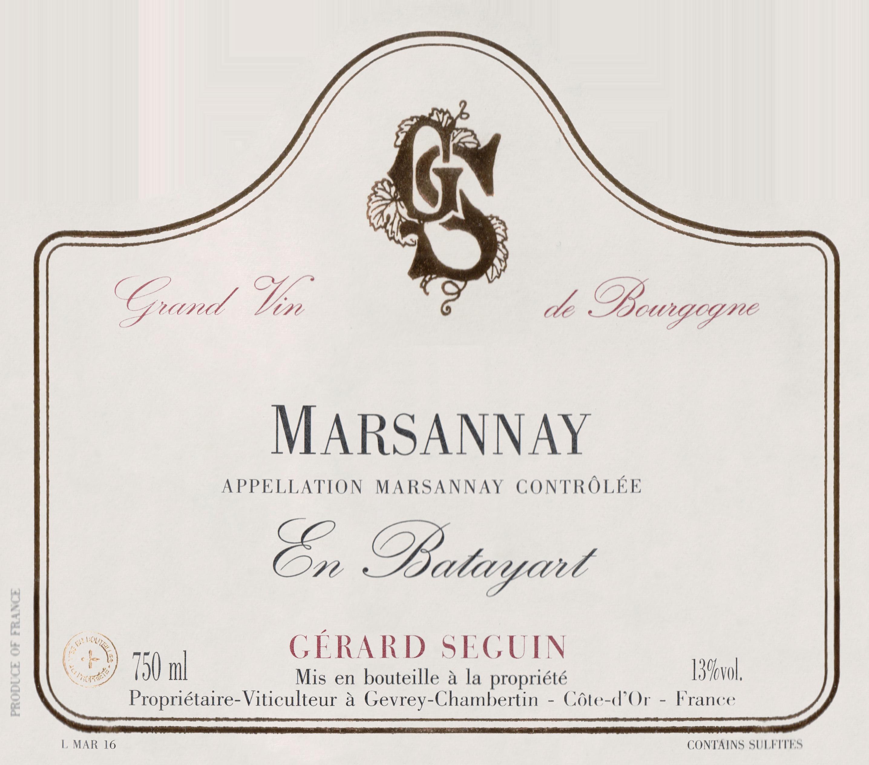 Gerard Seguin Marsannay En Batayart 2017