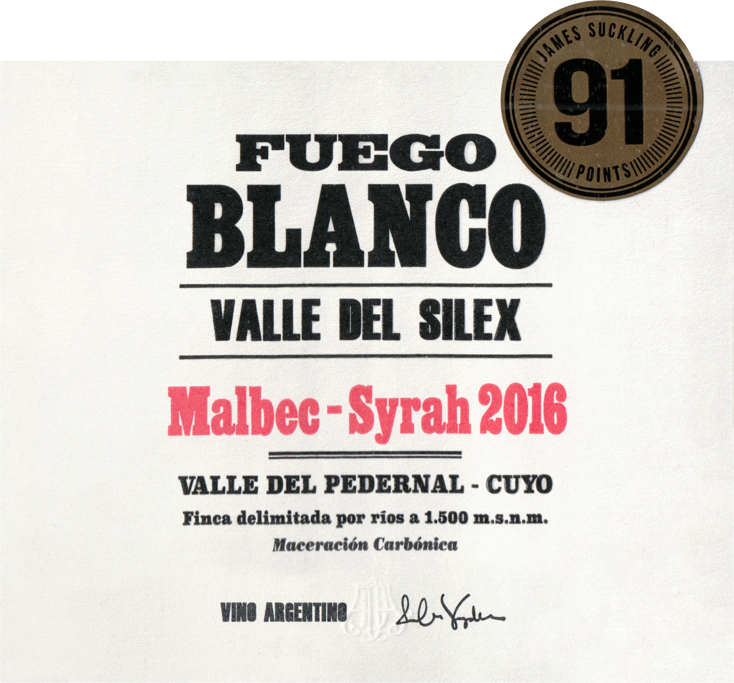 Fuego Blanco Malbec Syrah Blend 2016