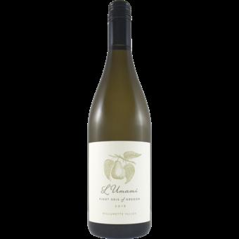 Bottle shot for 2018 L'umami Willamette Pinot Gris