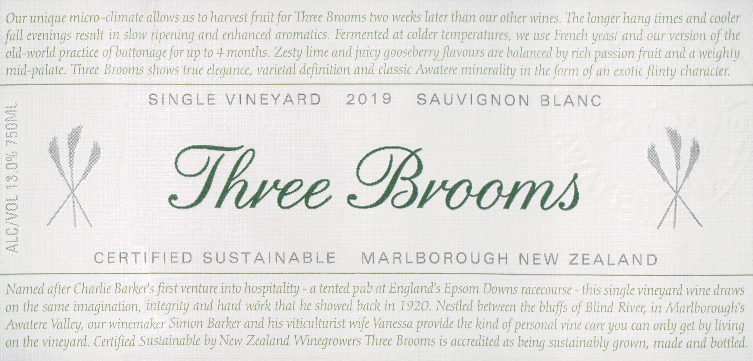 Three Brooms Sauvignon Blanc 2019