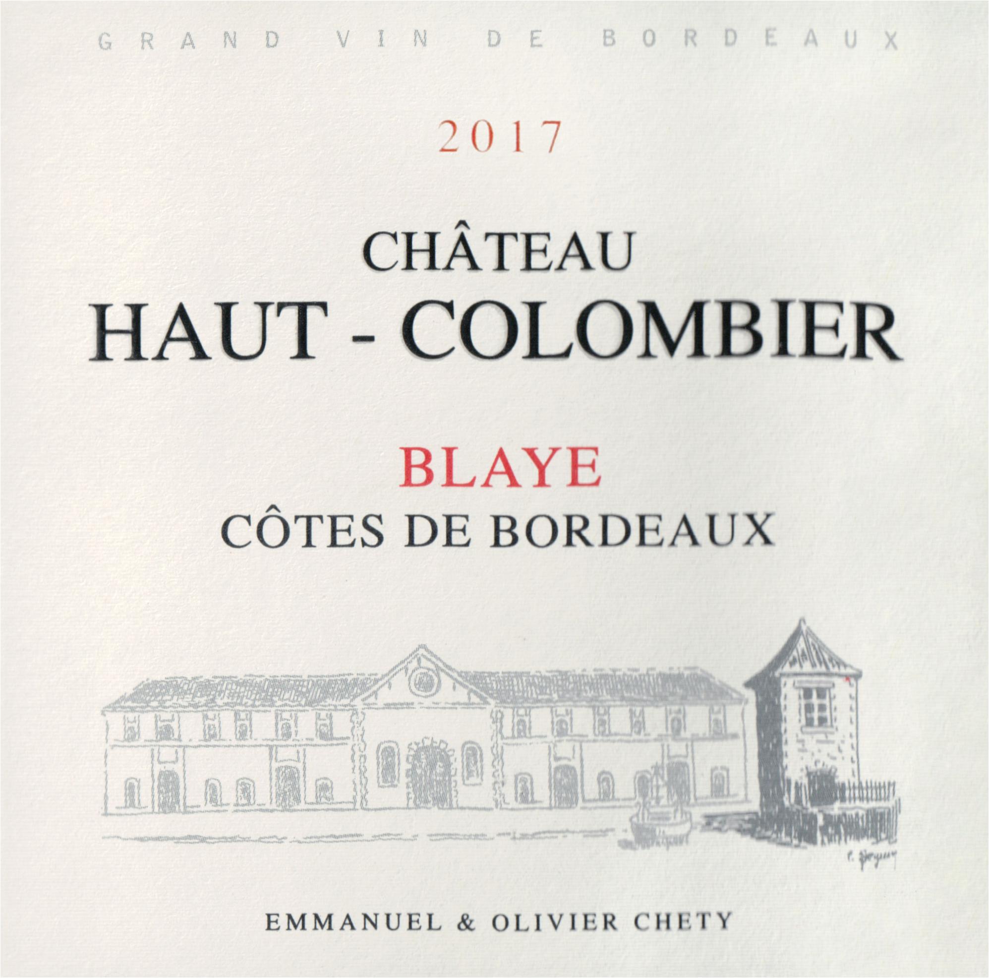 Chateau Haut Colombier Premmiers Cotes De Blaye 2017
