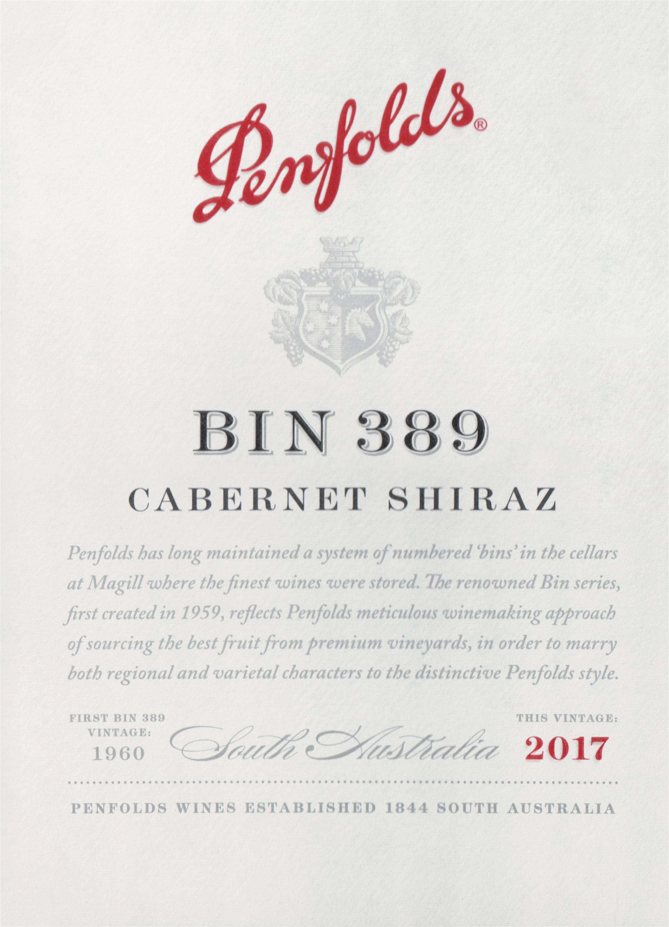 Penfolds Cab/Shiraz Bin 389 2017