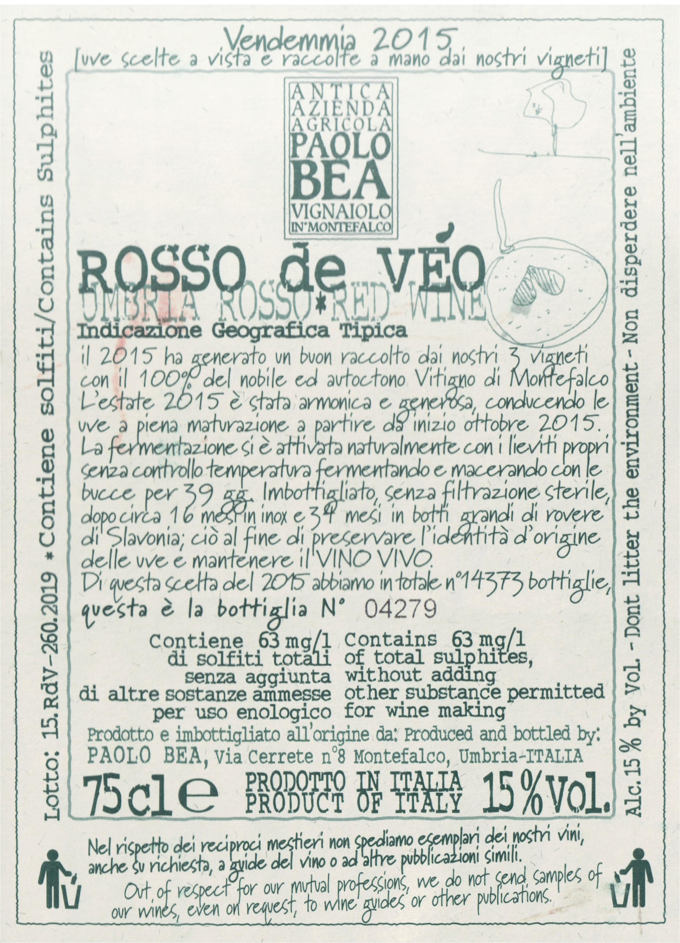 Paolo Bea Rosso De Veo Umbria Rosso 2015