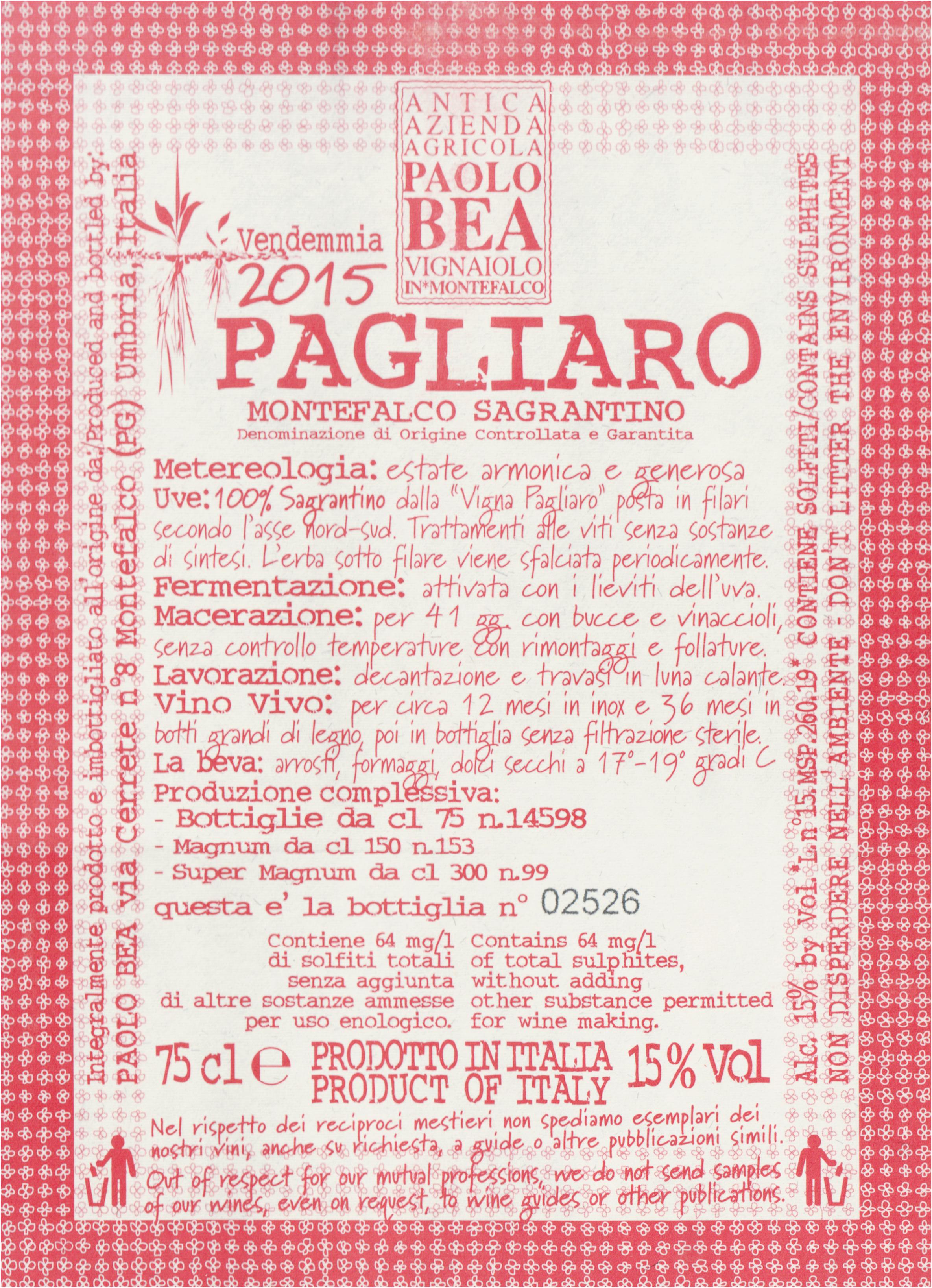 Paolo Bea Sagrantino Di Montefalco Pagliaro 2015