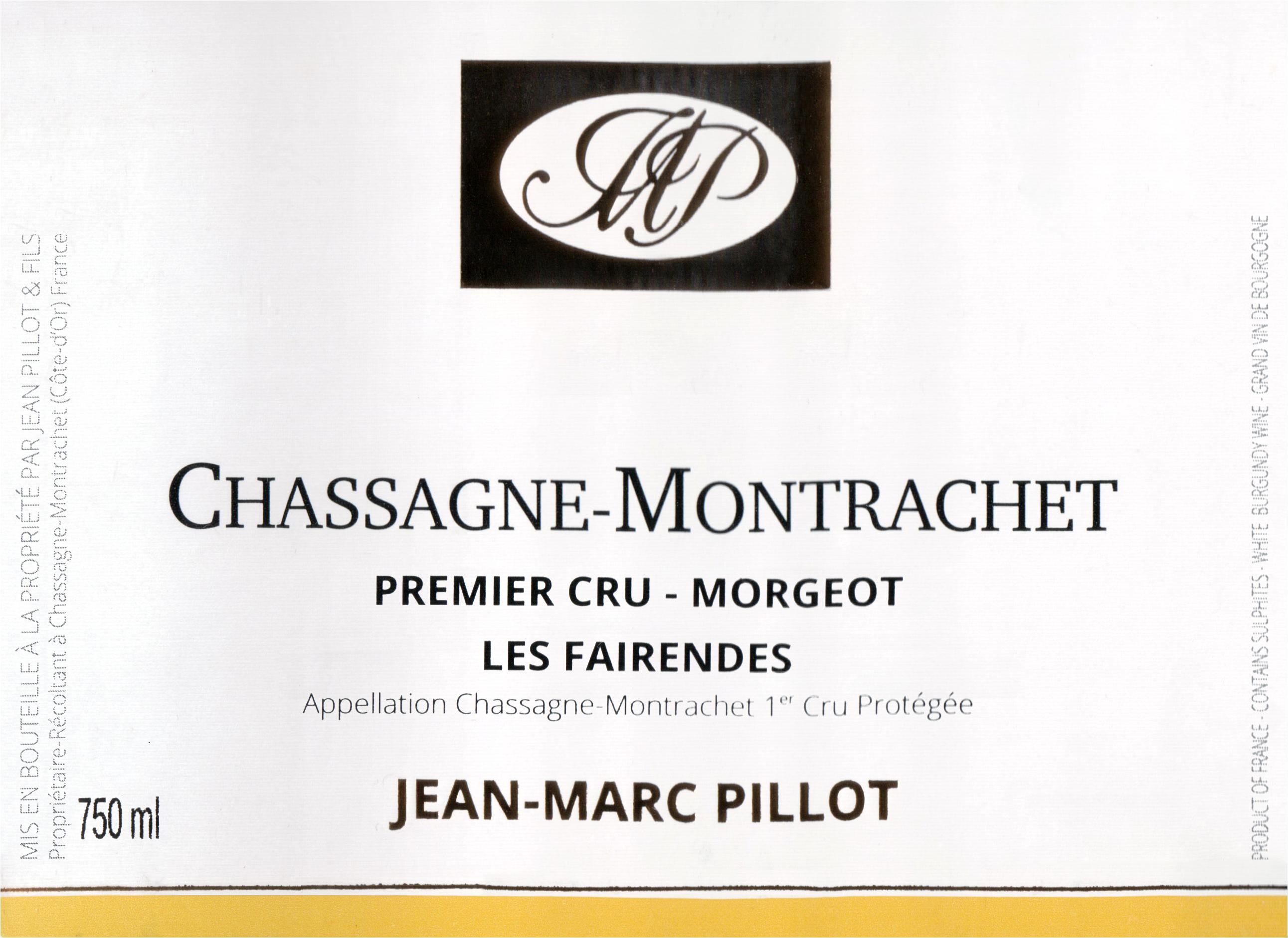 Jean Marc Pillot Morgeot Chassagne Montrachet Les Fairendes 1er Cru 2017