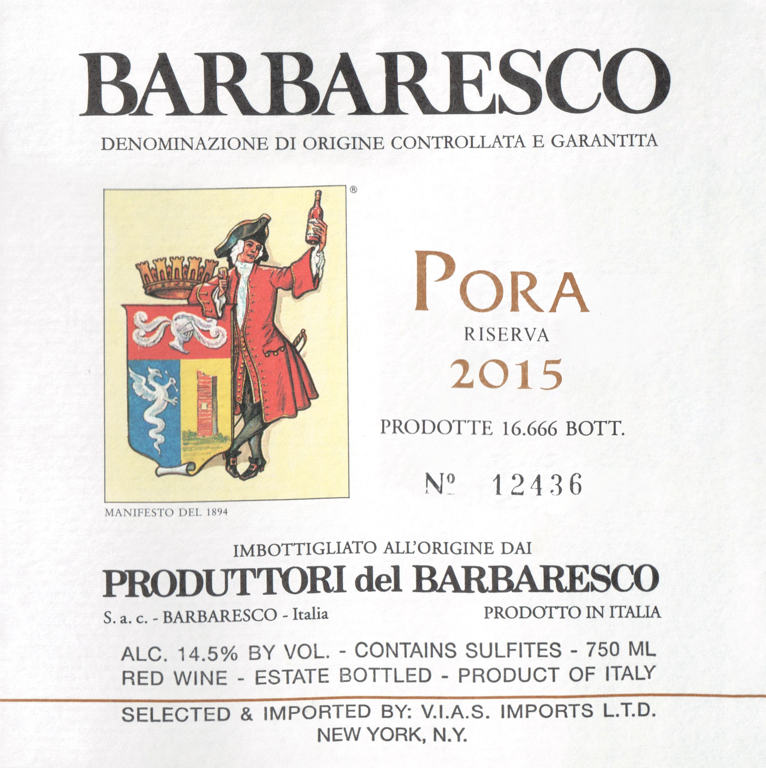 Produttori Pora Del Barbaresco Riserva 2015
