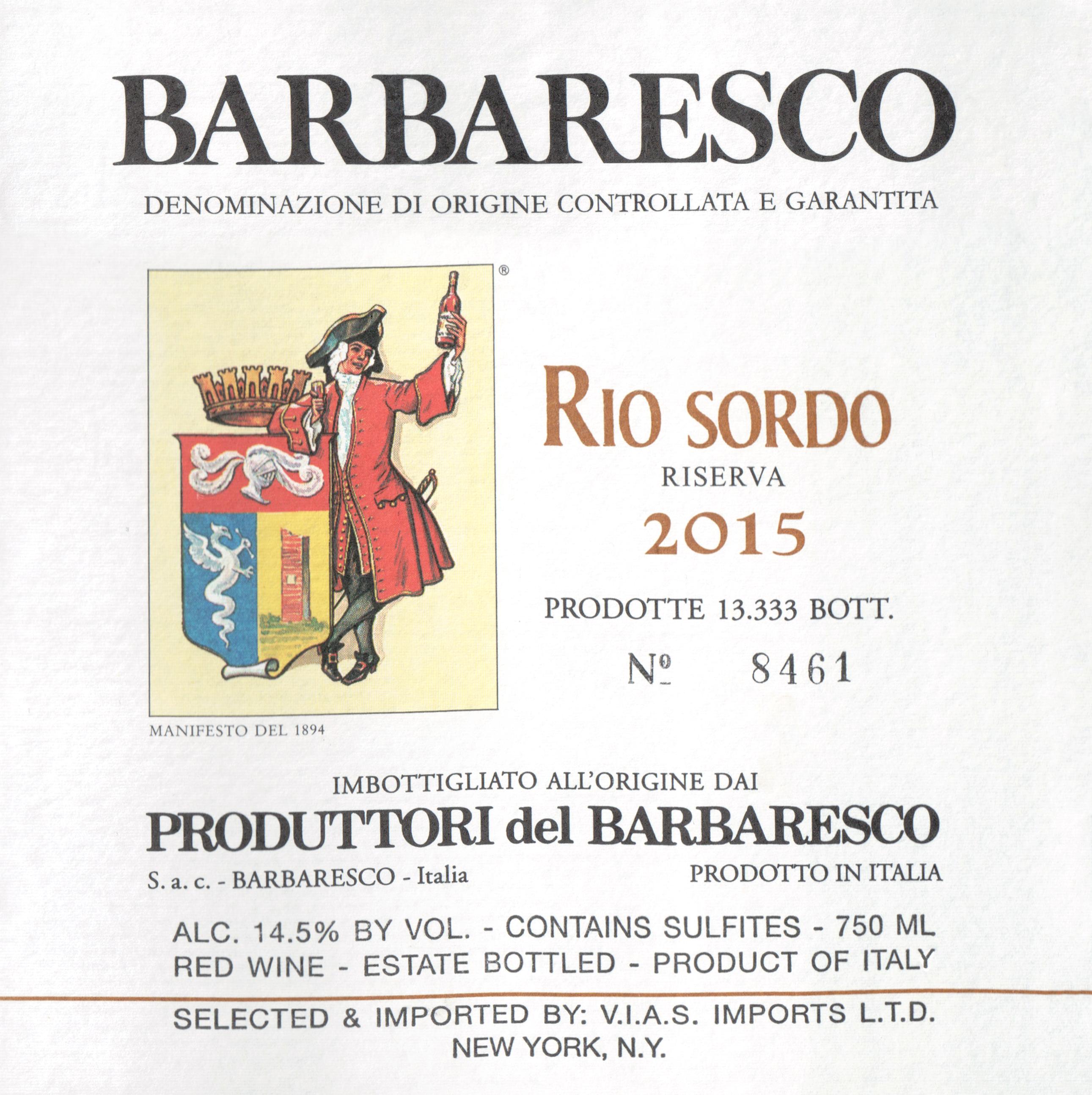 Produttori Rio Sordo Del Barbaresco Riserva 2015