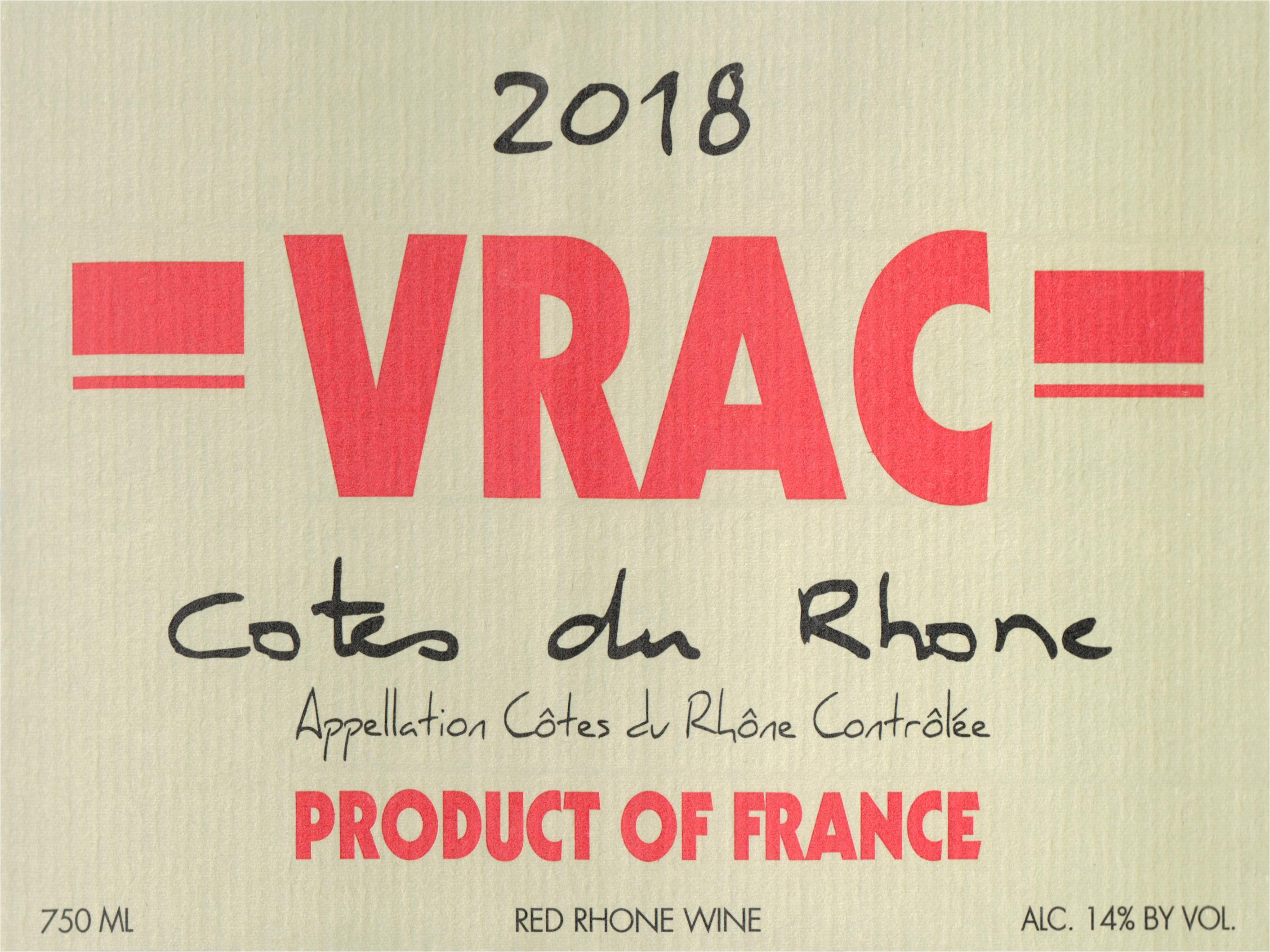 Vrac Cotes Du Rhone 2018