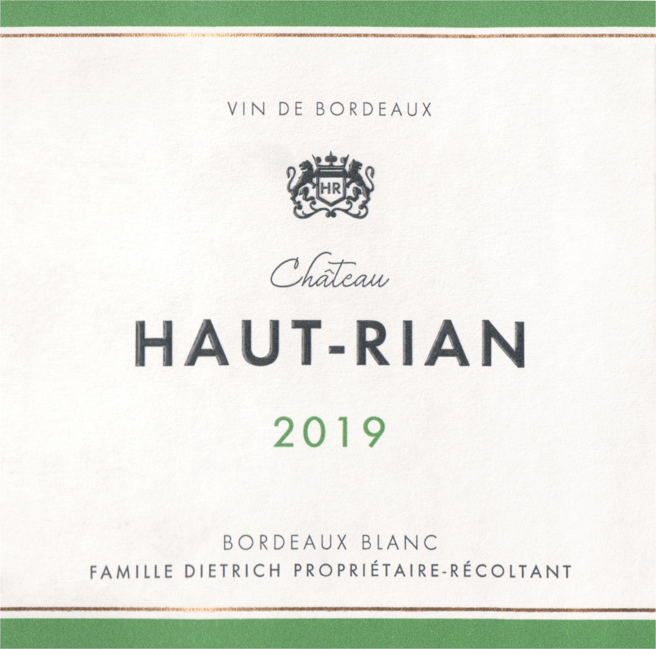 Chateau Haut Rian Bordeaux Blanc Sec 2019
