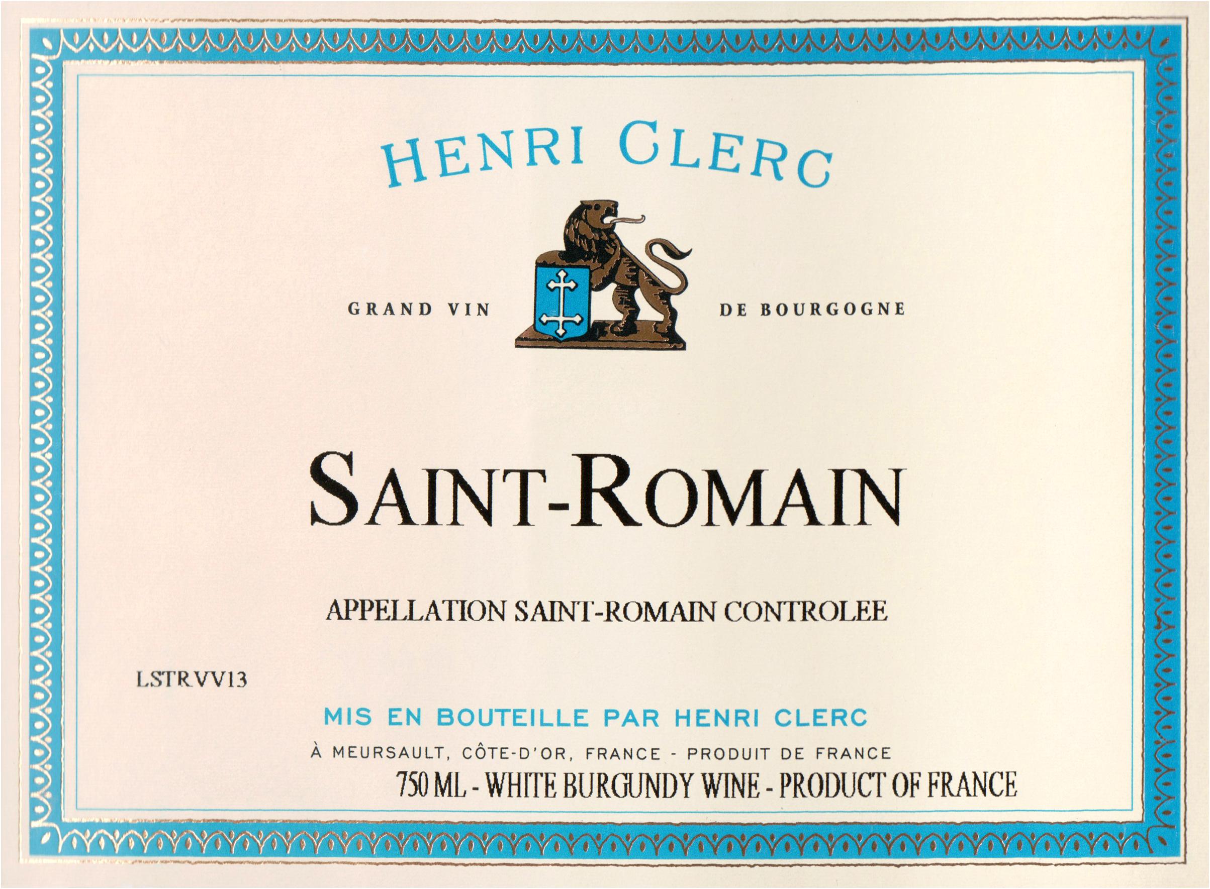 Henri Clerc Saint Romain Blanc 2015