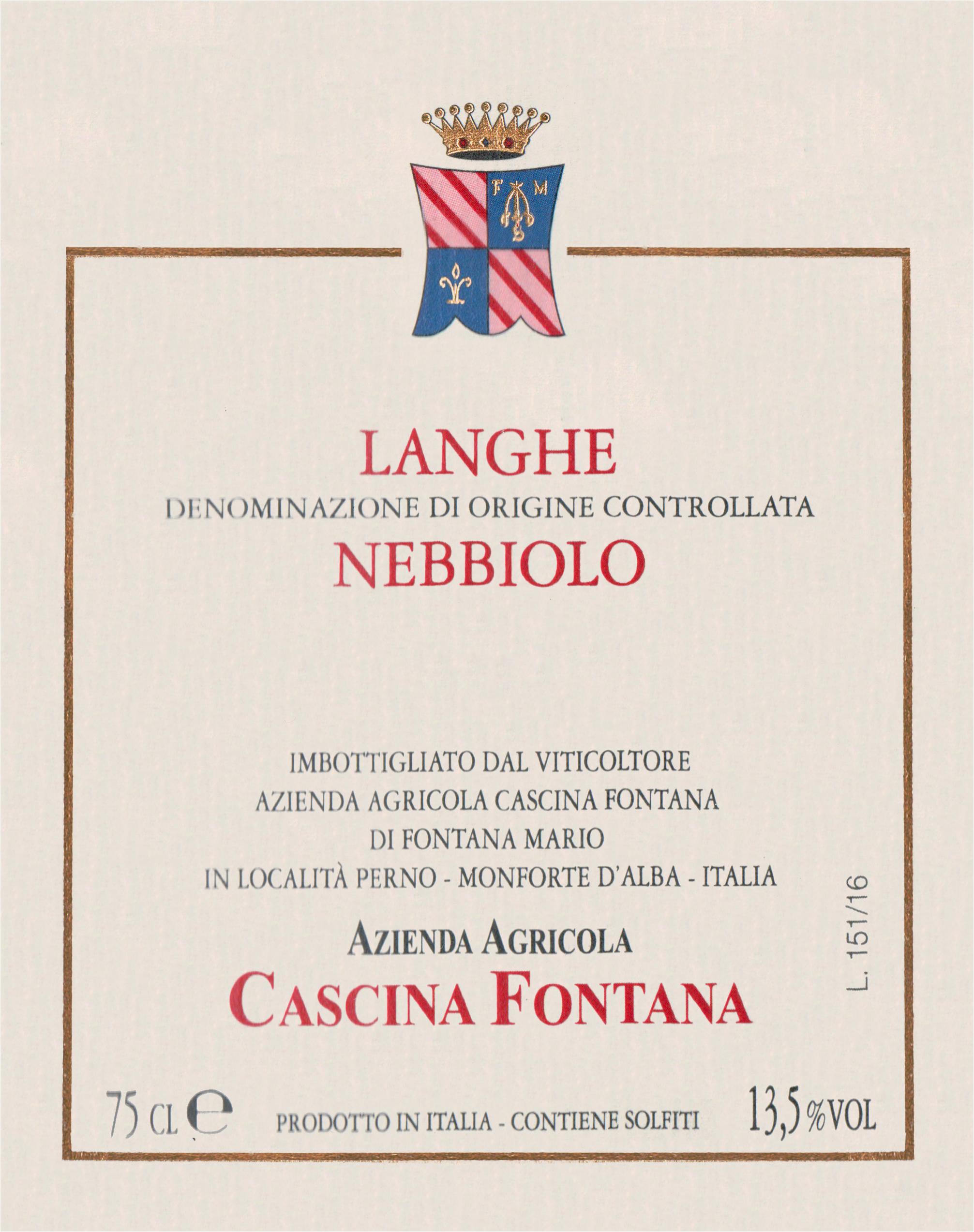 Cascina Fontana Langhe Nebbiolo 2017