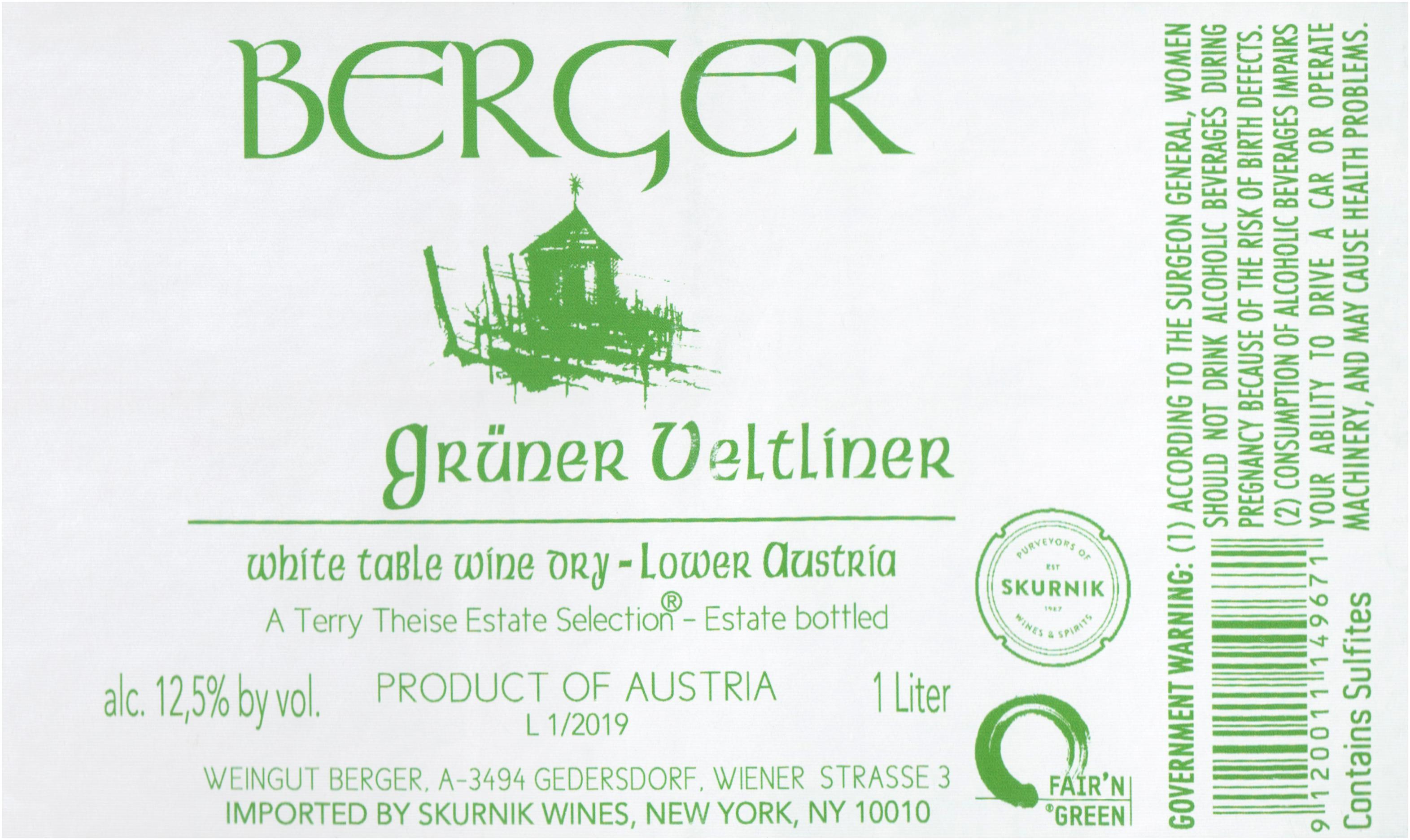 E & M Berger Gruner Veltliner Gebling 2019