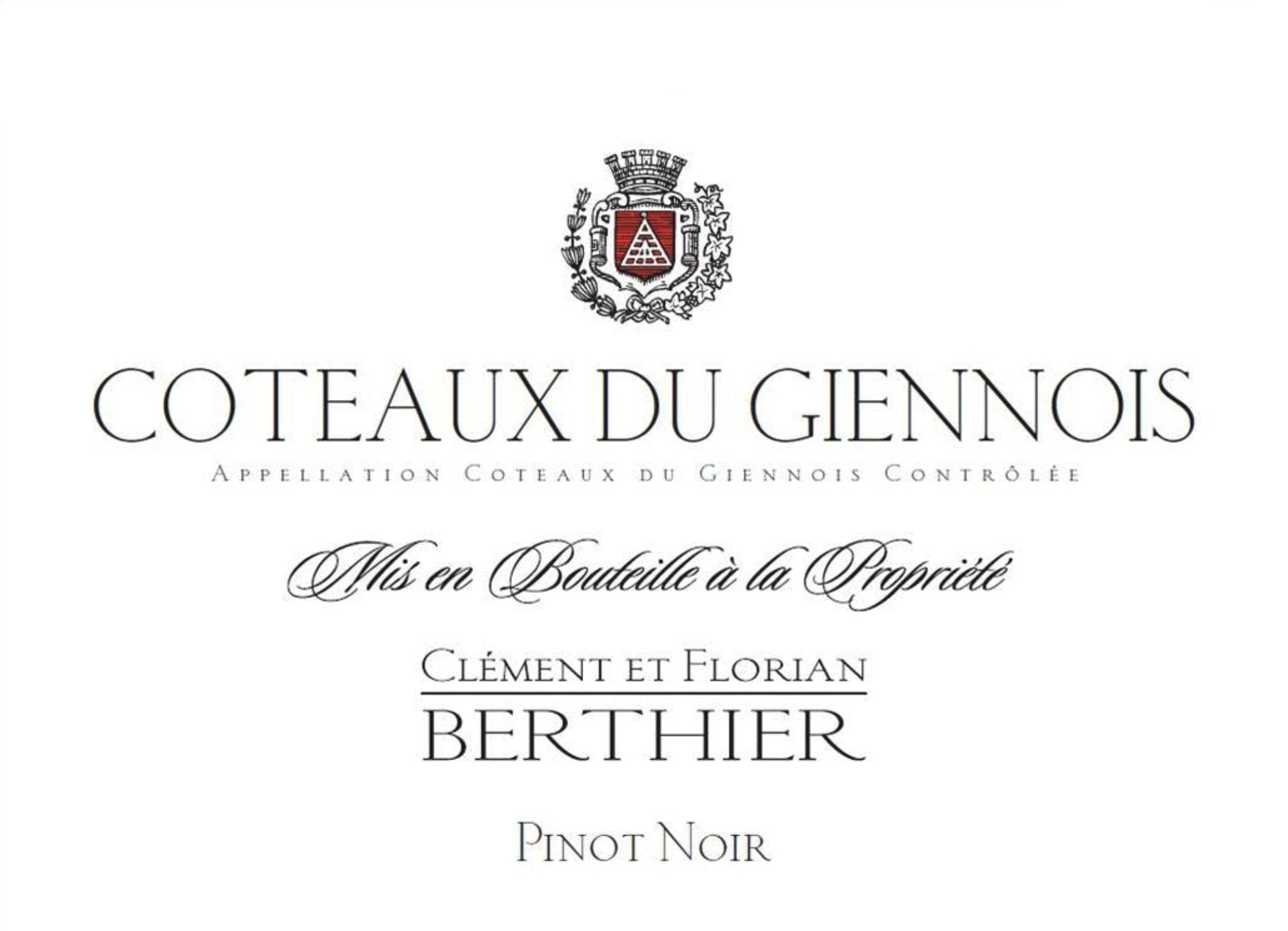Clement Et Florian Berthier Coteaux Du Giennois Rouge Pinot Noir 2018